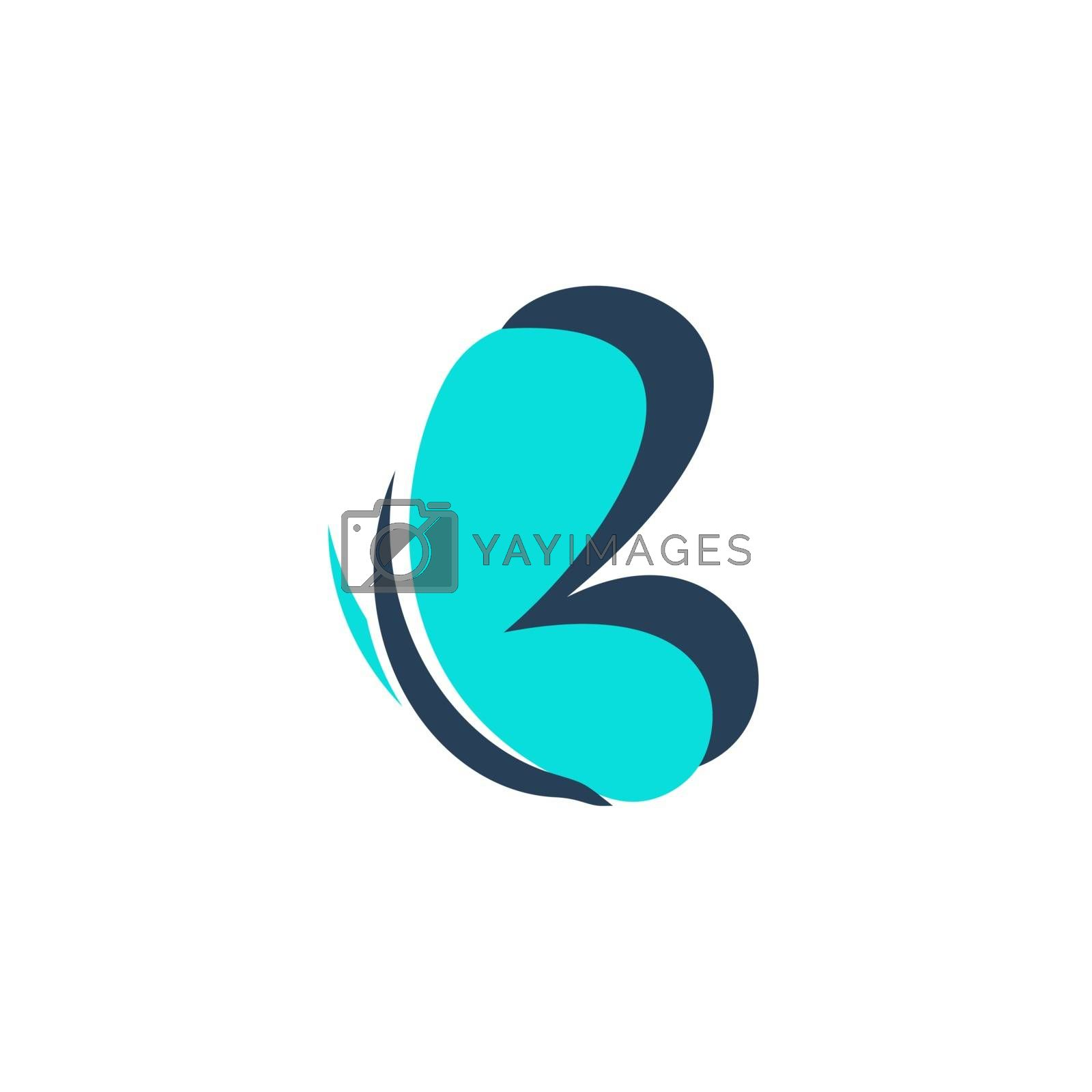 abstract beauty butterfly letter b logo symbol icon vector design illustration
