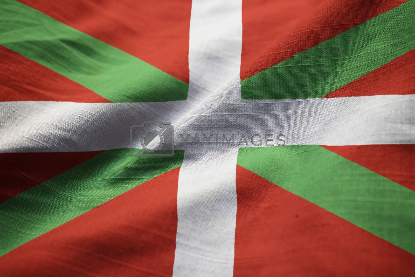 Closeup of Ruffled Basque Country Flag, Basque Country Flag Blowing in Wind