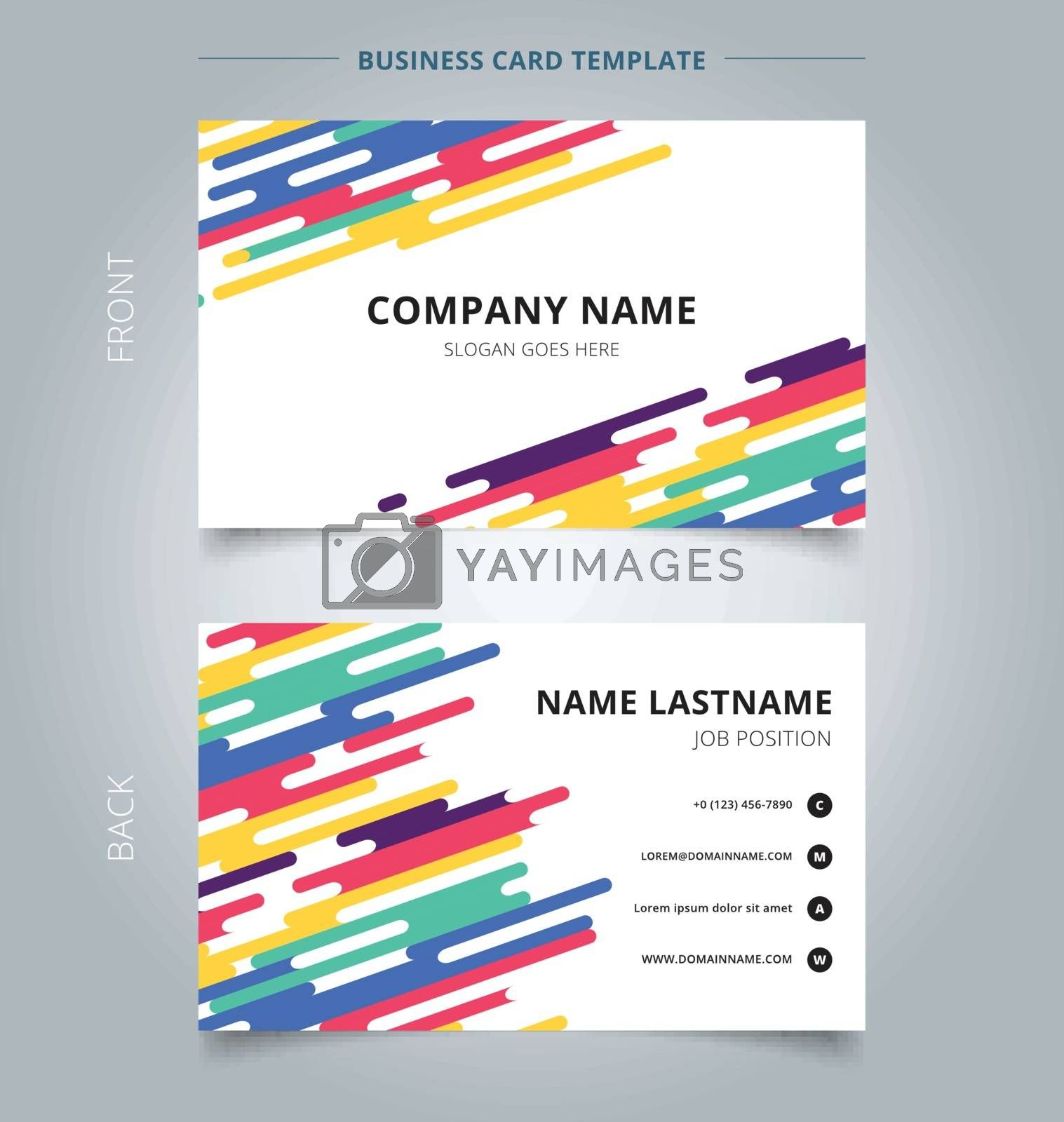 Template name card abstract colorful rounded lines halftone transition background. Vector illustration
