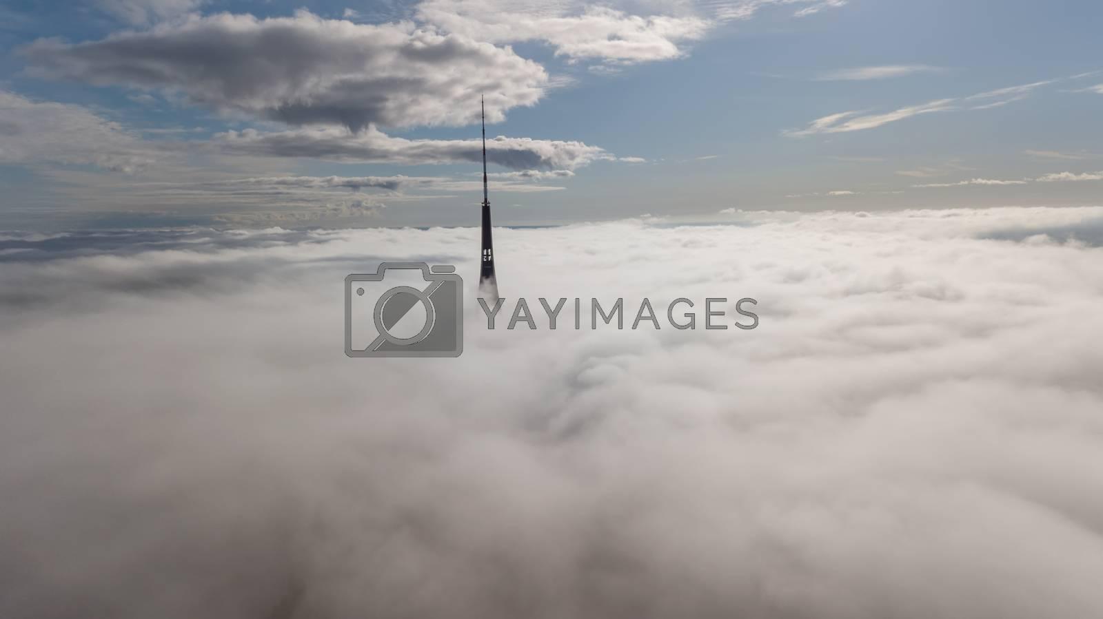 Riga Latvia Tv Tower Zakusala smoke clouds Europe biggest Aerial drone top view