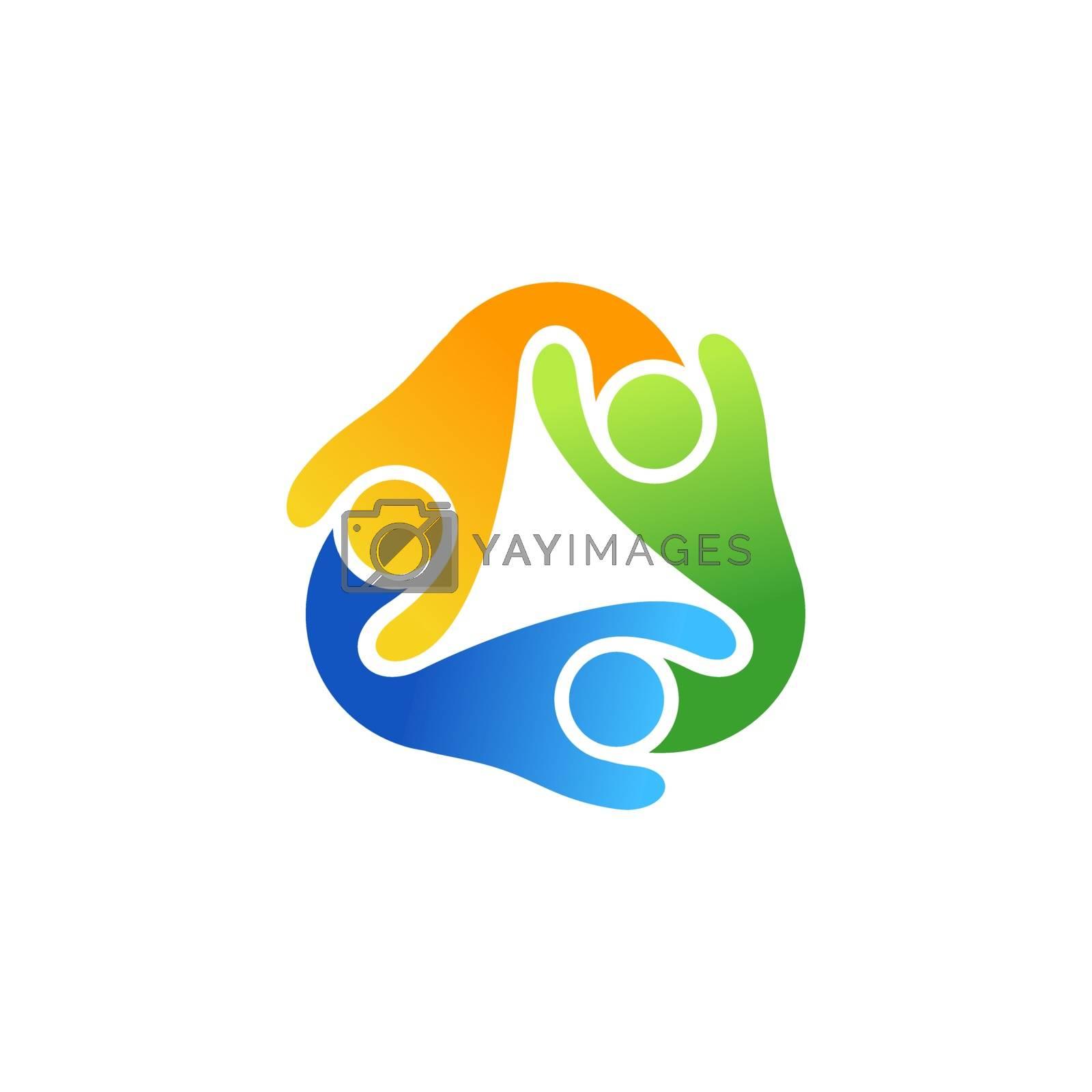 global teamwork people connection colored logo symbol icon vector design illustration