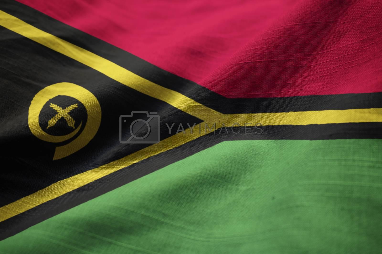 Closeup of Ruffled Vanuatu Flag, Vanuatu Flag Blowing in Wind