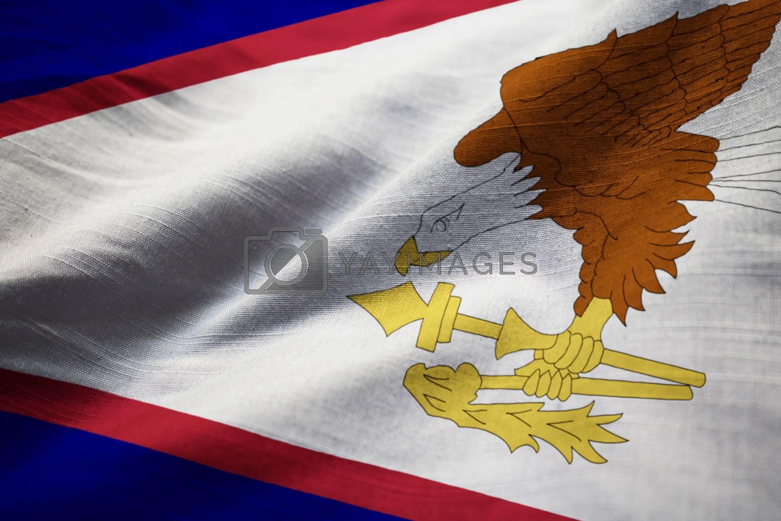 Closeup of Ruffled American Samoa Flag, American Samoa Flag Blowing in Wind