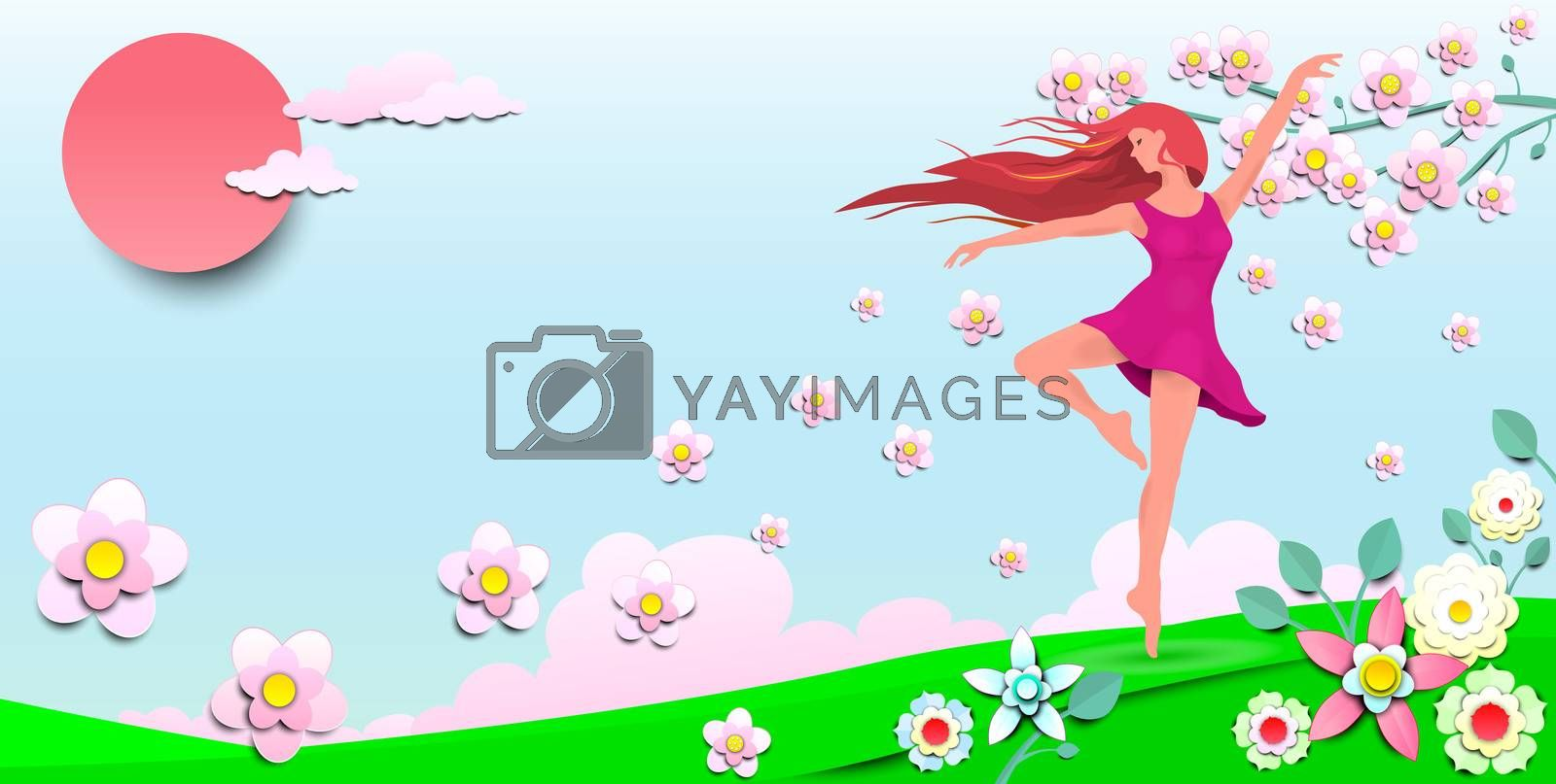 A young girl dancing among the flowers. Dancing girl on the background of the sun, sky and flowers.