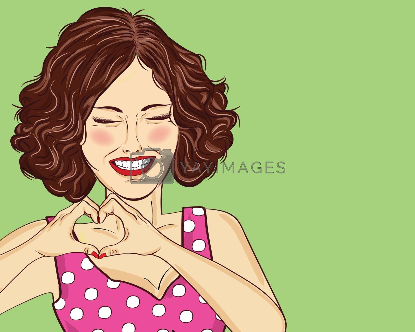Pop art woman making heart sign with hands. Comic woman . Pin up girl. Positive human emotion. Vector format