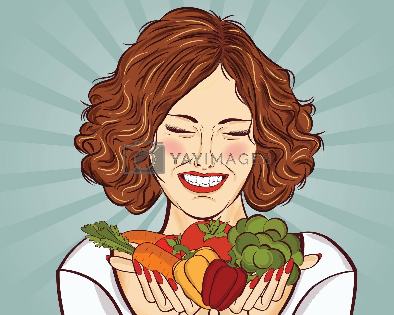beautiful red-haired lady with vegetables in his hands, vector illustration
