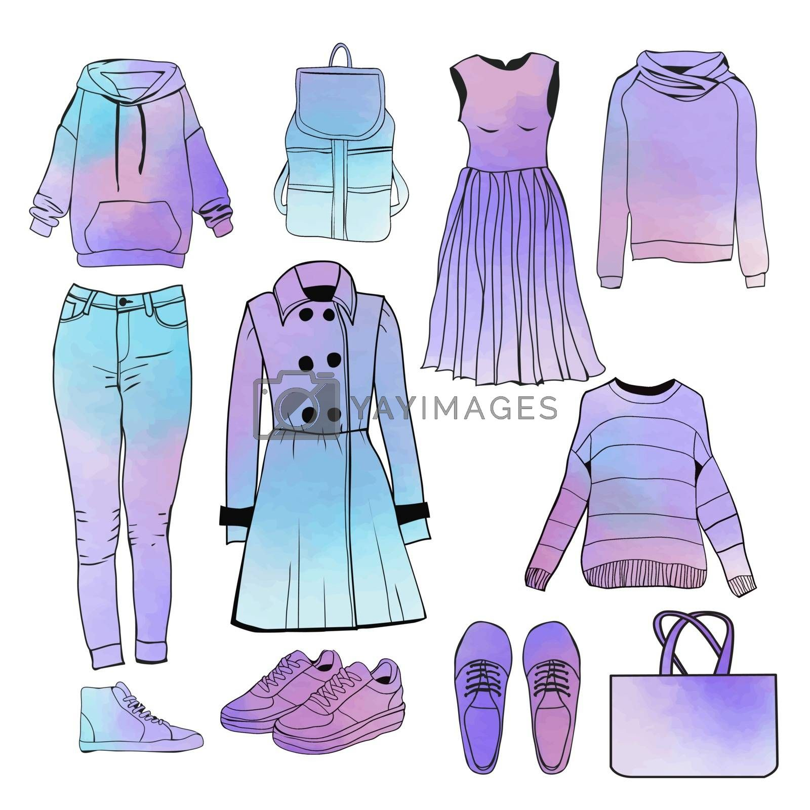 A set of of fashionable clothing and accessories spring and autumn season collection. Hand drawn watercolor womens Spring collection fashion clothes. Outfit of casual elegant woman style.
