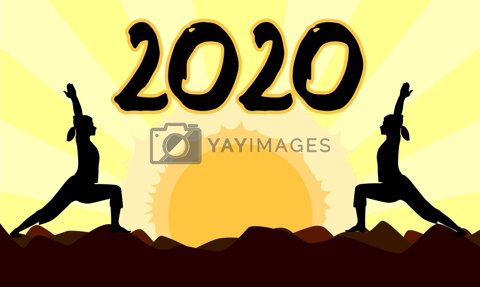 2 yoga poses performed by young women in silhouette set against a yellow sunset with the date 2020