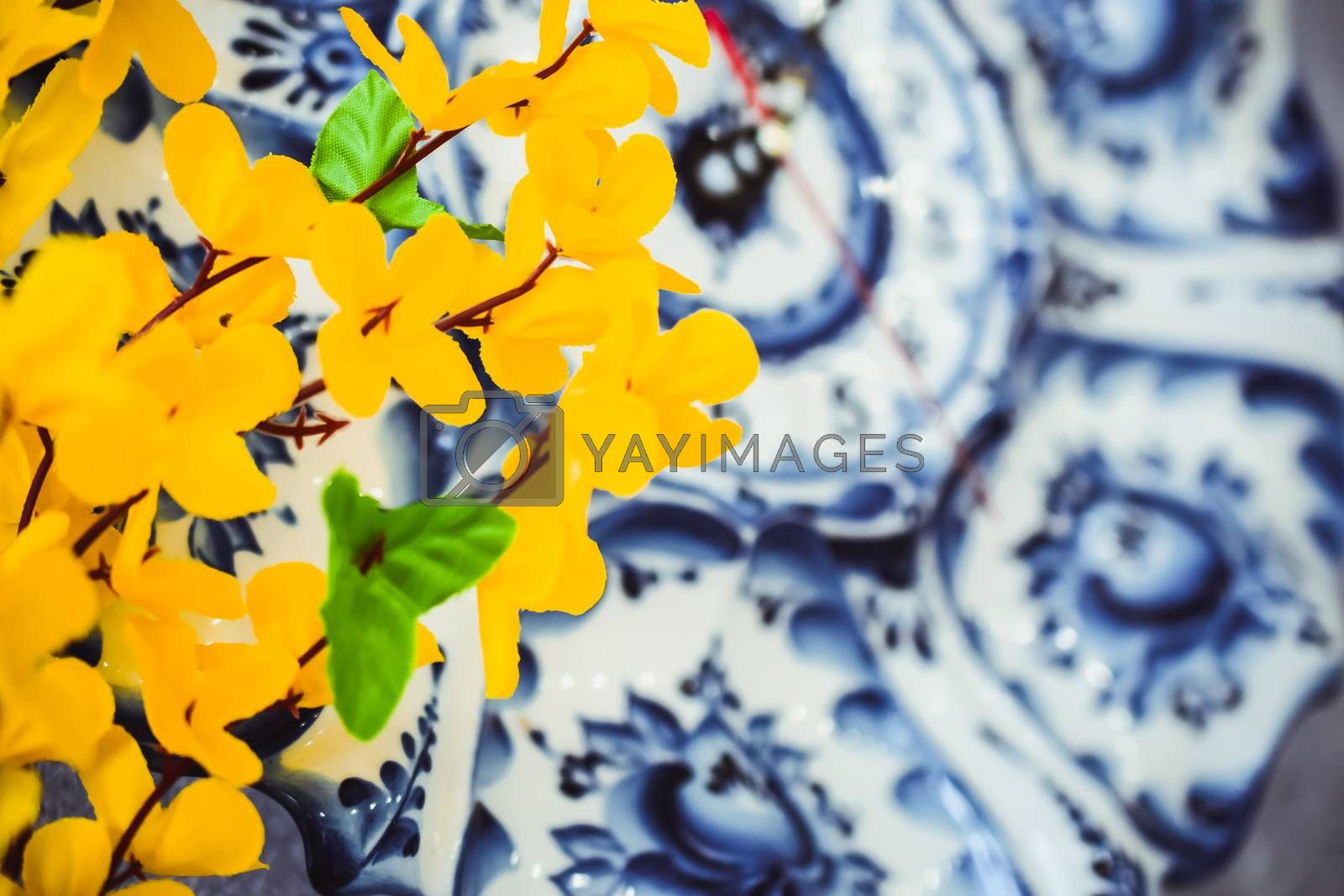 flowers made of artificial materials yellow, acacia flowers