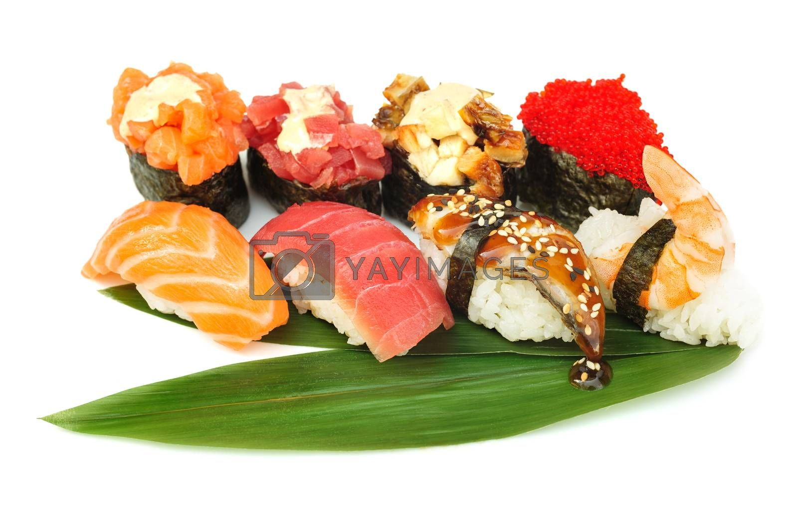 Sushi set assorrted rolls on solated on white background