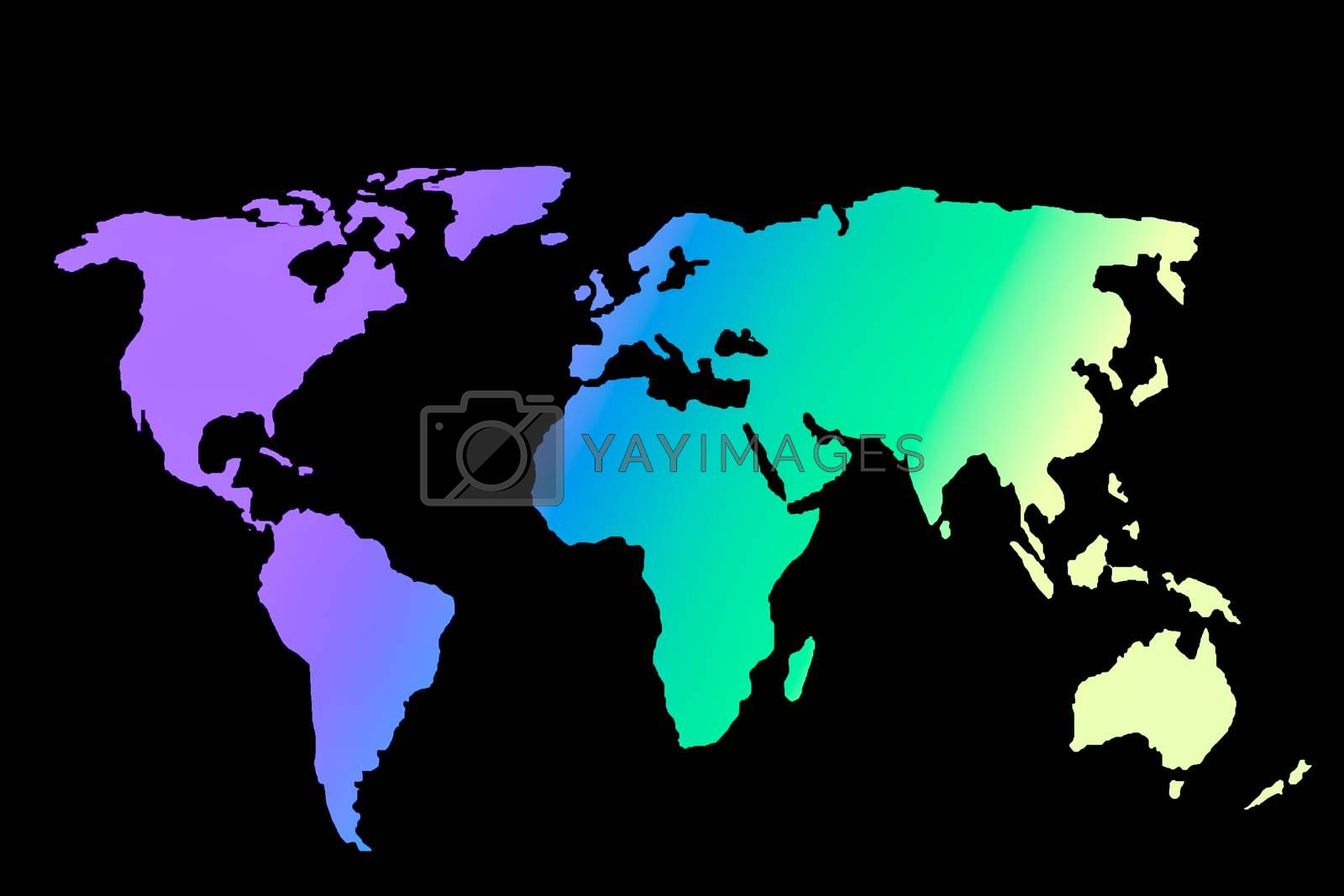 Roughly sketched out world map with colorful filling by berkay
