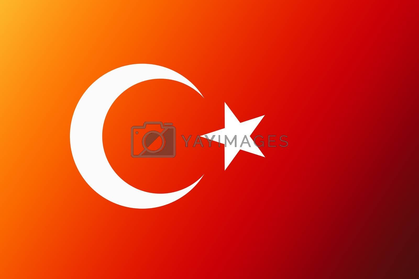 Turkish national flag with white star and moon on red background by berkay