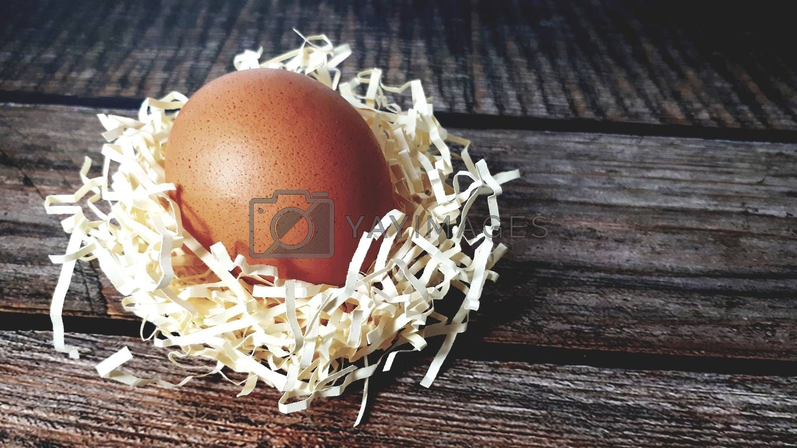 Chicken egg in a nest of straw on a wooden table. Close-up.