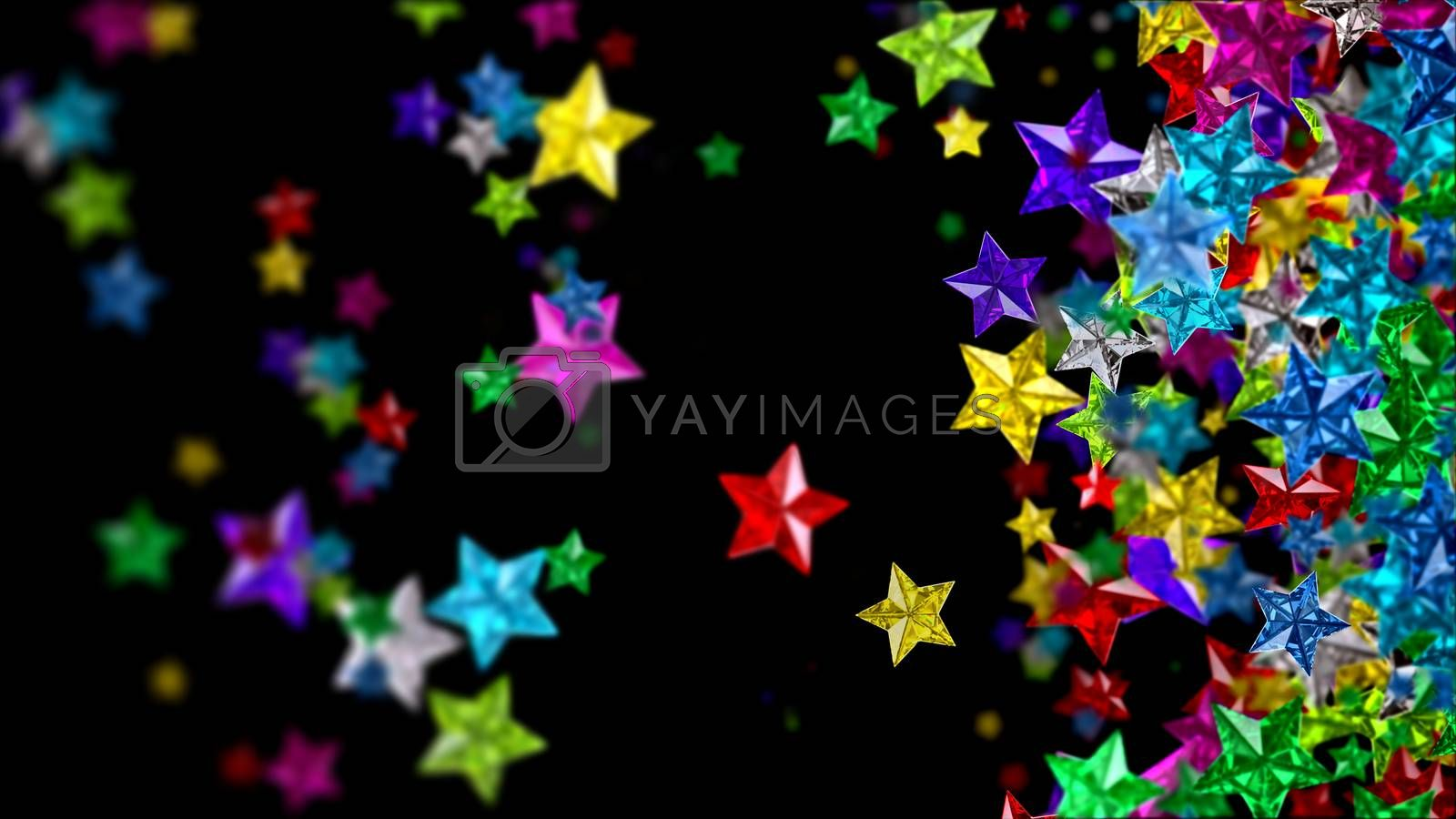 Colourful glass stars on the dark background by merzavka