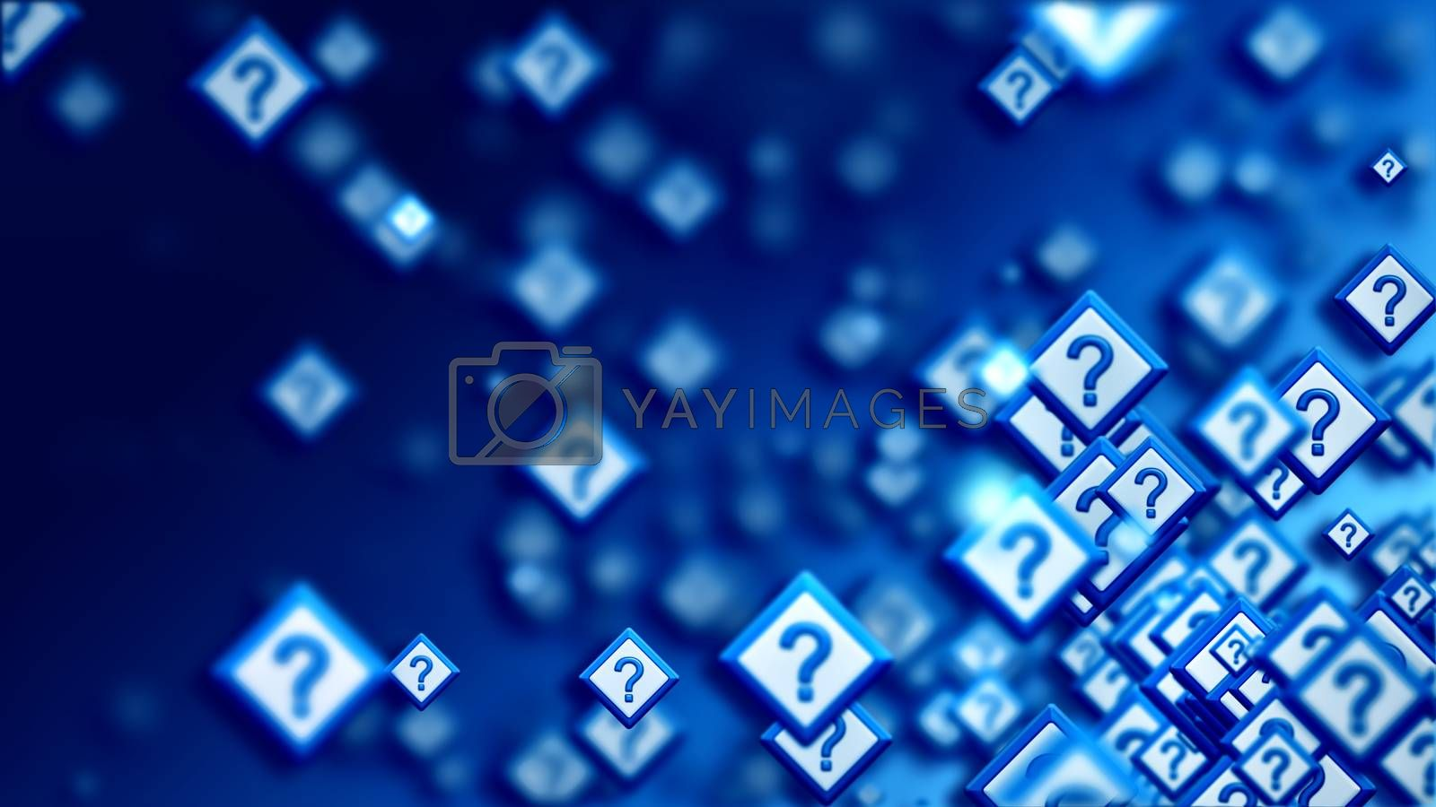 Group of signs with question marks on a blue backdrop, as a concept of questions of the choice from the web community in cyberspace. Abstract futuristic horizontal background.