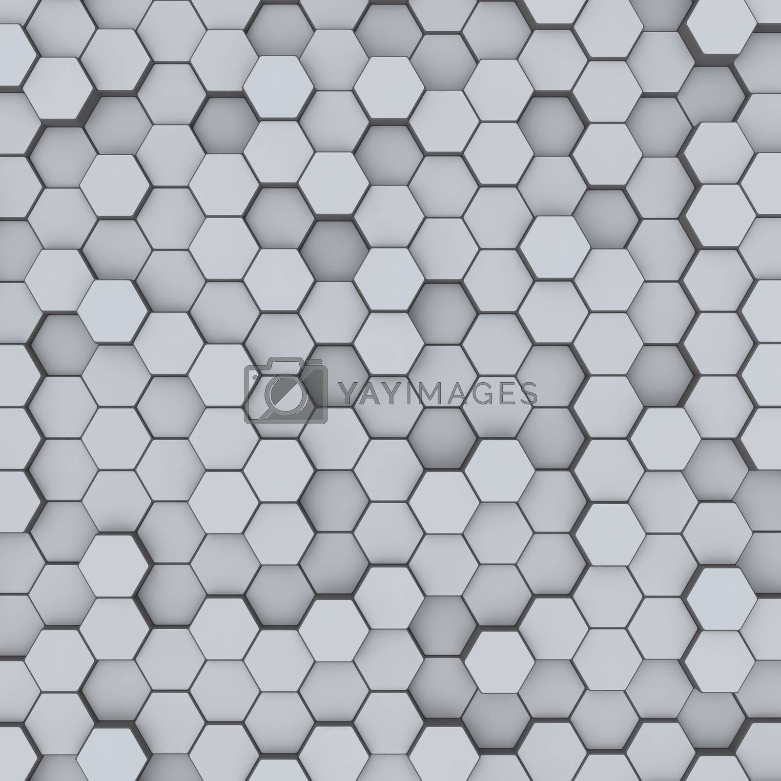 Gray hexagon honeycombs abstract background by merzavka