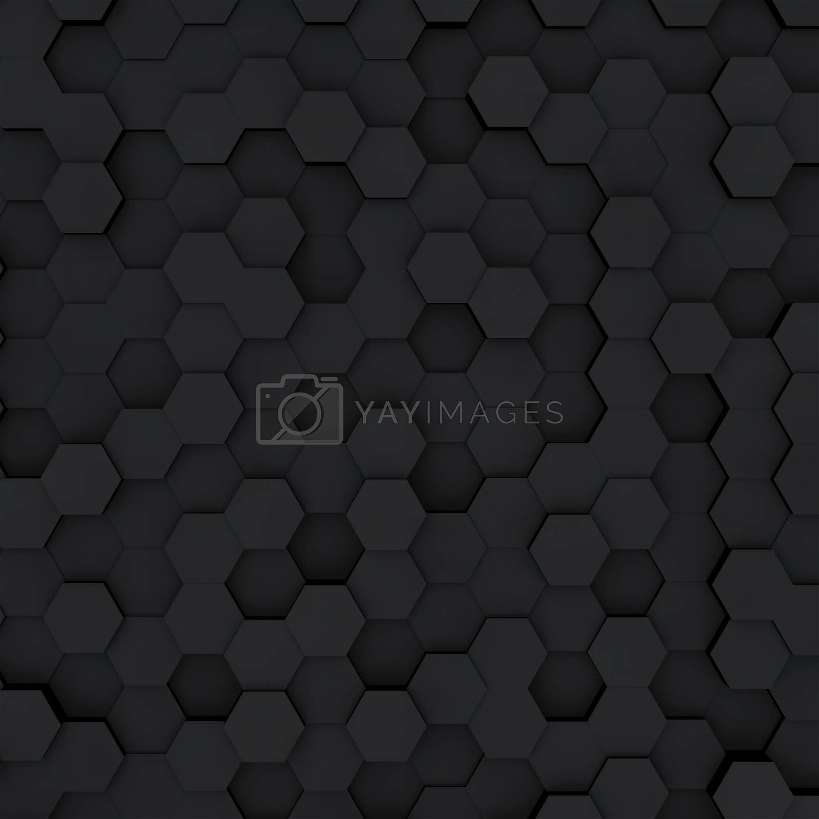 Dark gray hexagon honeycombs abstract background by merzavka