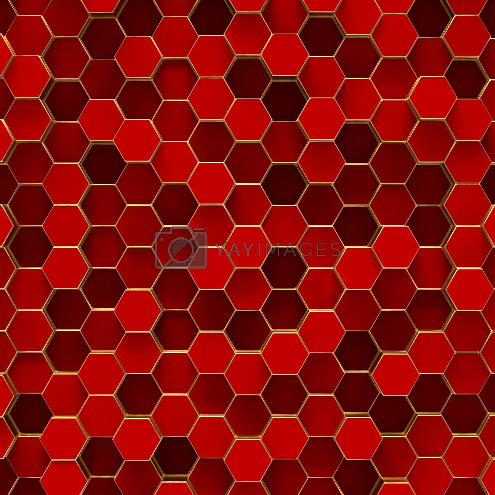 Abstract minimalistic background with red hexagons by merzavka