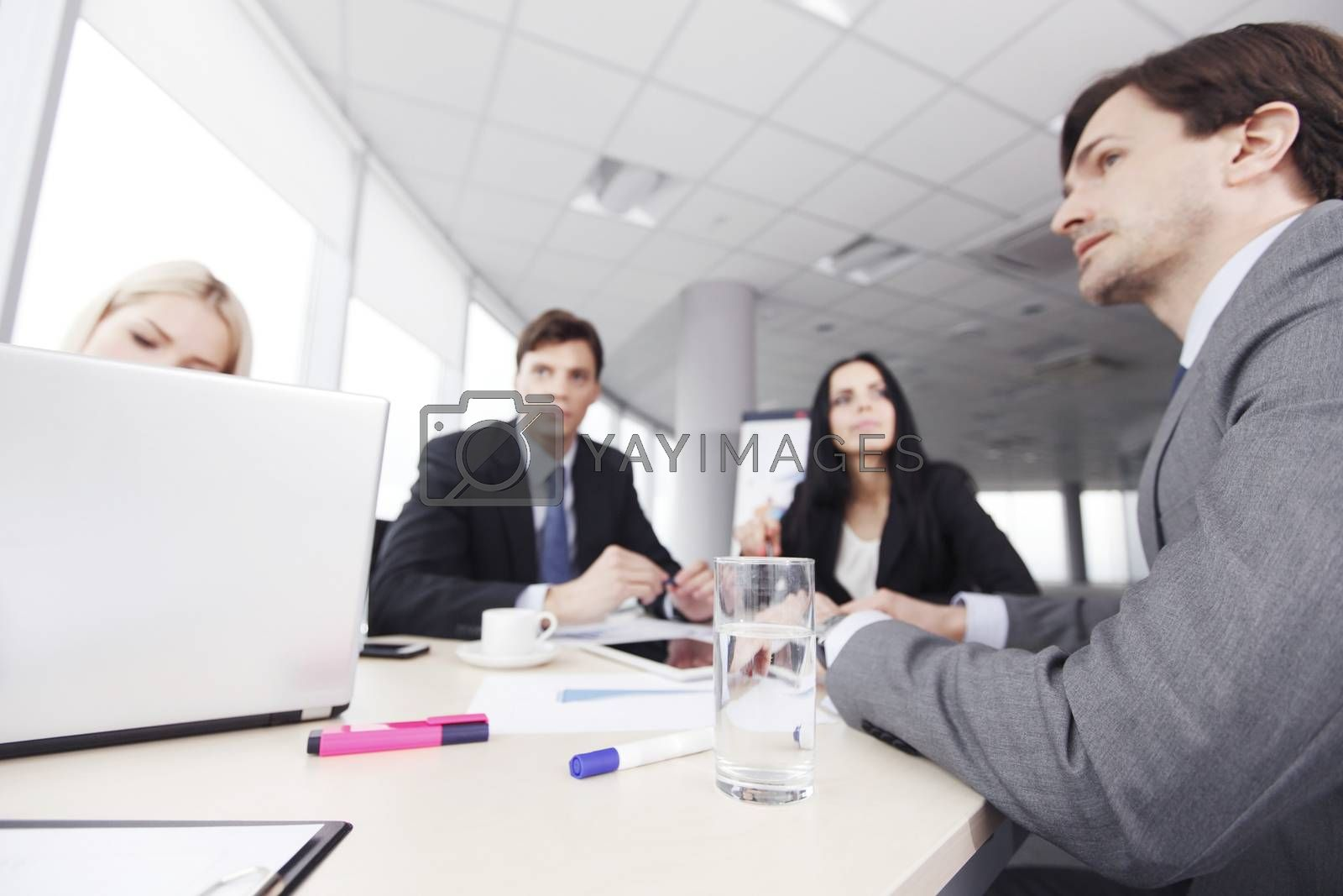 Business people analyzing financial reports in office