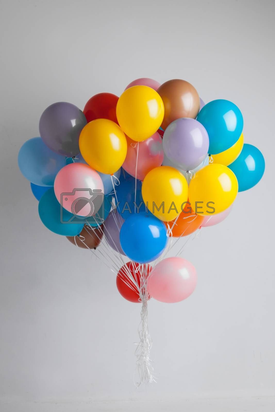 Bunch of many colorful balloons birthday party gift concept
