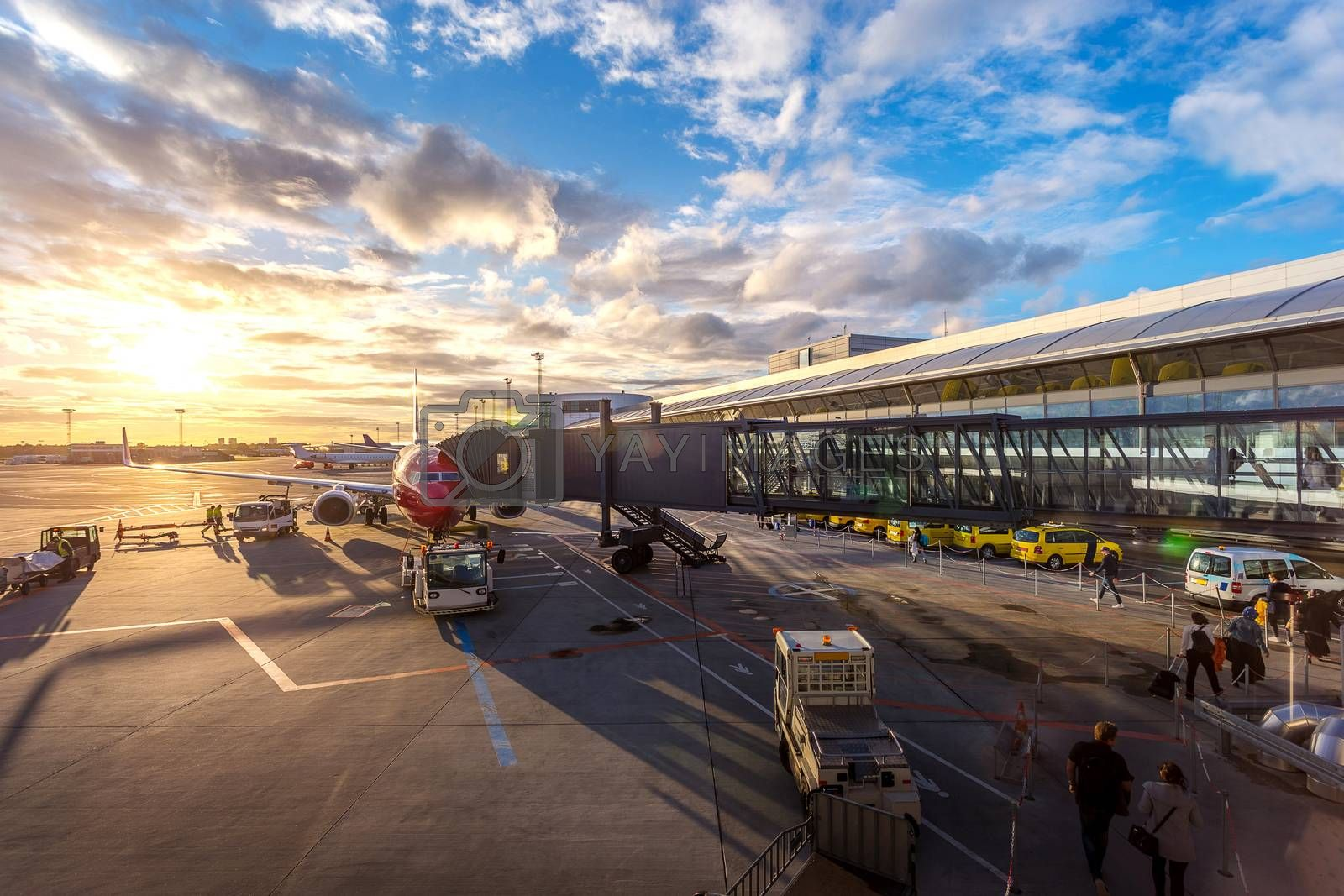 Passenger walk to plane on taxi gate for travel and transportation with service car at Copenhagen airport in Copenhagen city, Denmark, Europe, Scandinavia at beautiful sunset time