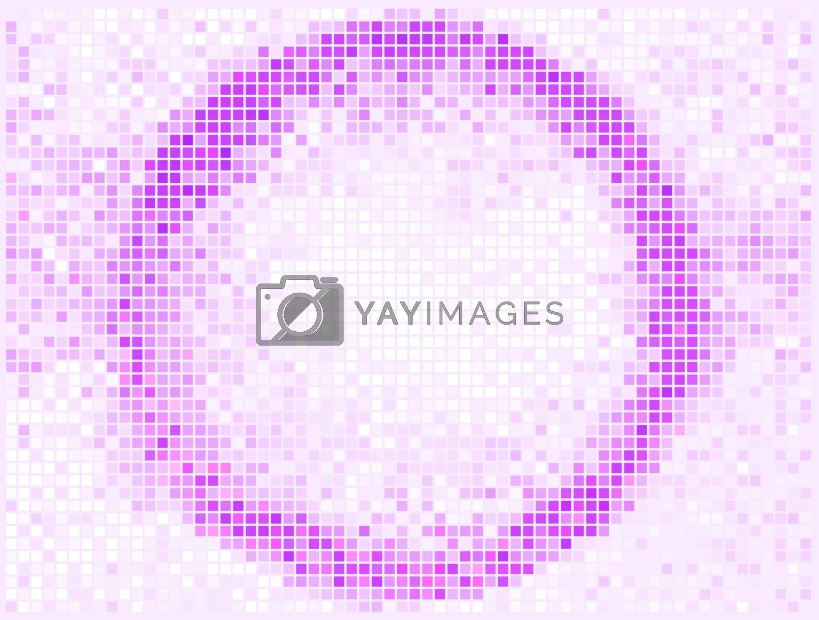 Round Square Pixel Mosaic Vector Banner. Abstract light Round shape frame.