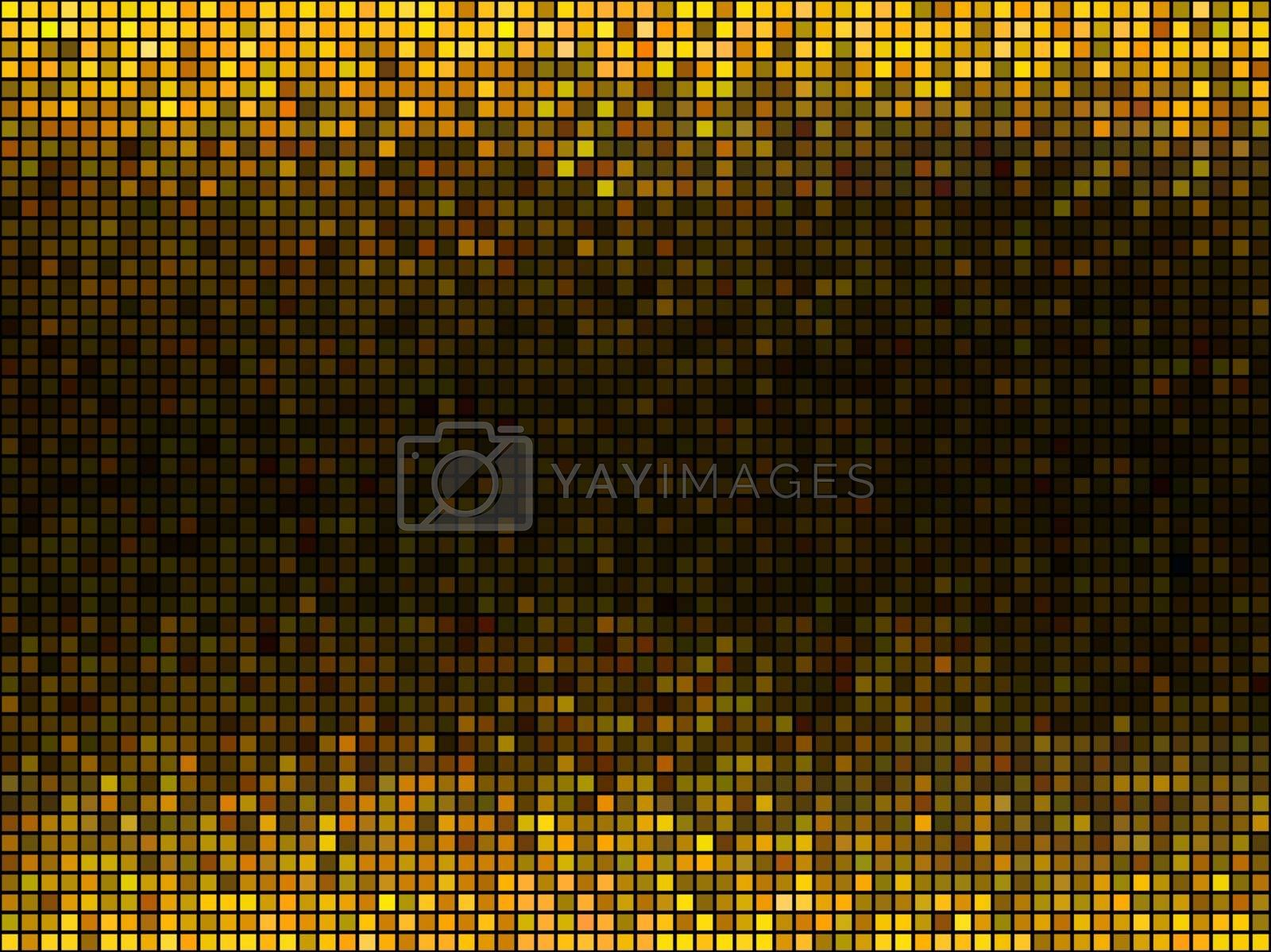 Golden abstract lights disco background. Square pixel mosaic.