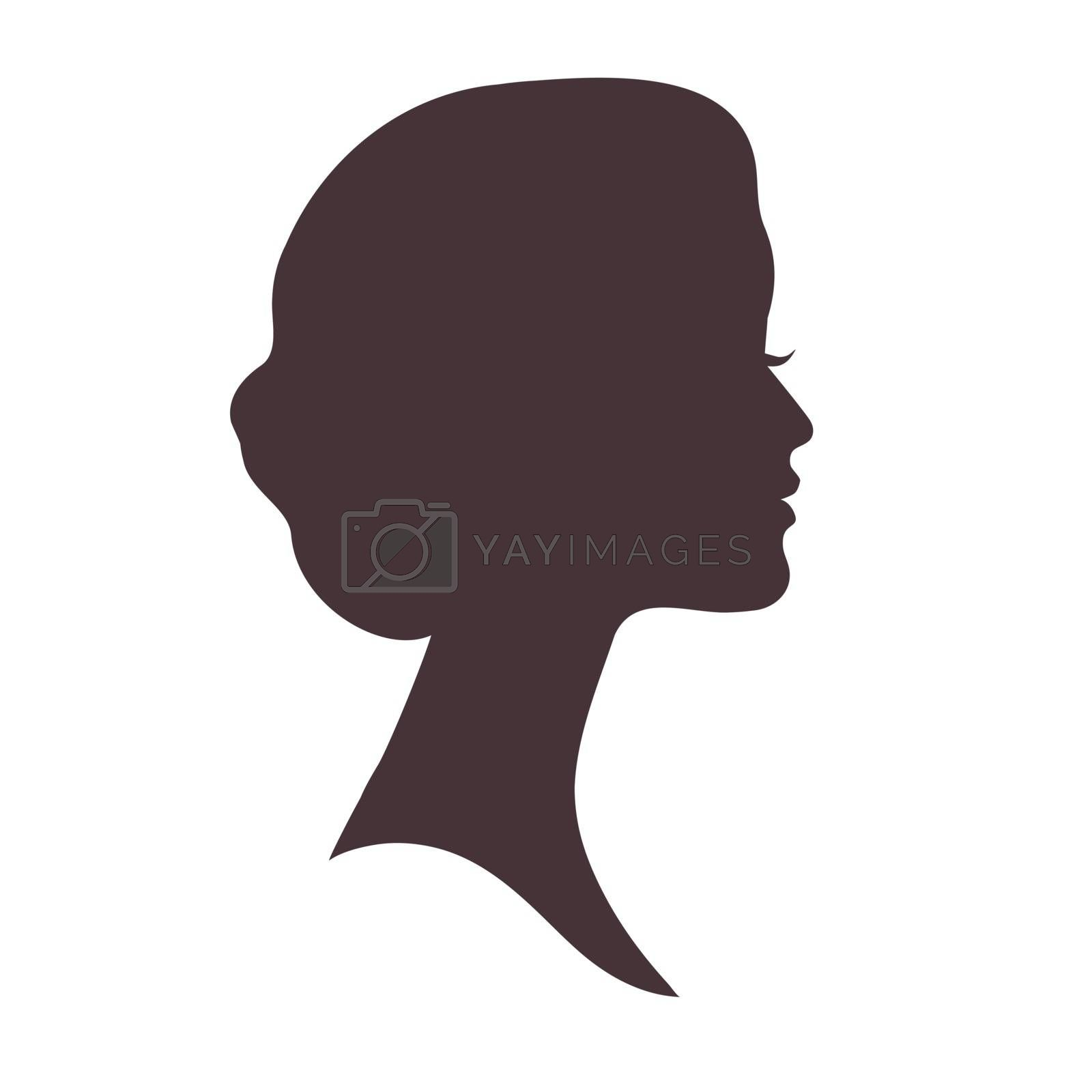 Beautiful female head with curly hair silhouette. Black profile face
