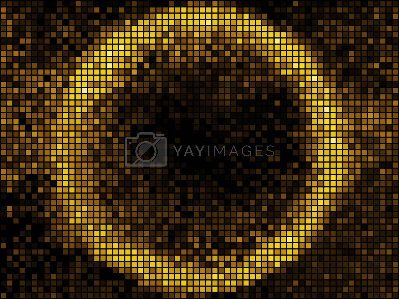 Golden abstract lights disco background. Square pixel mosaic frame. Round shape