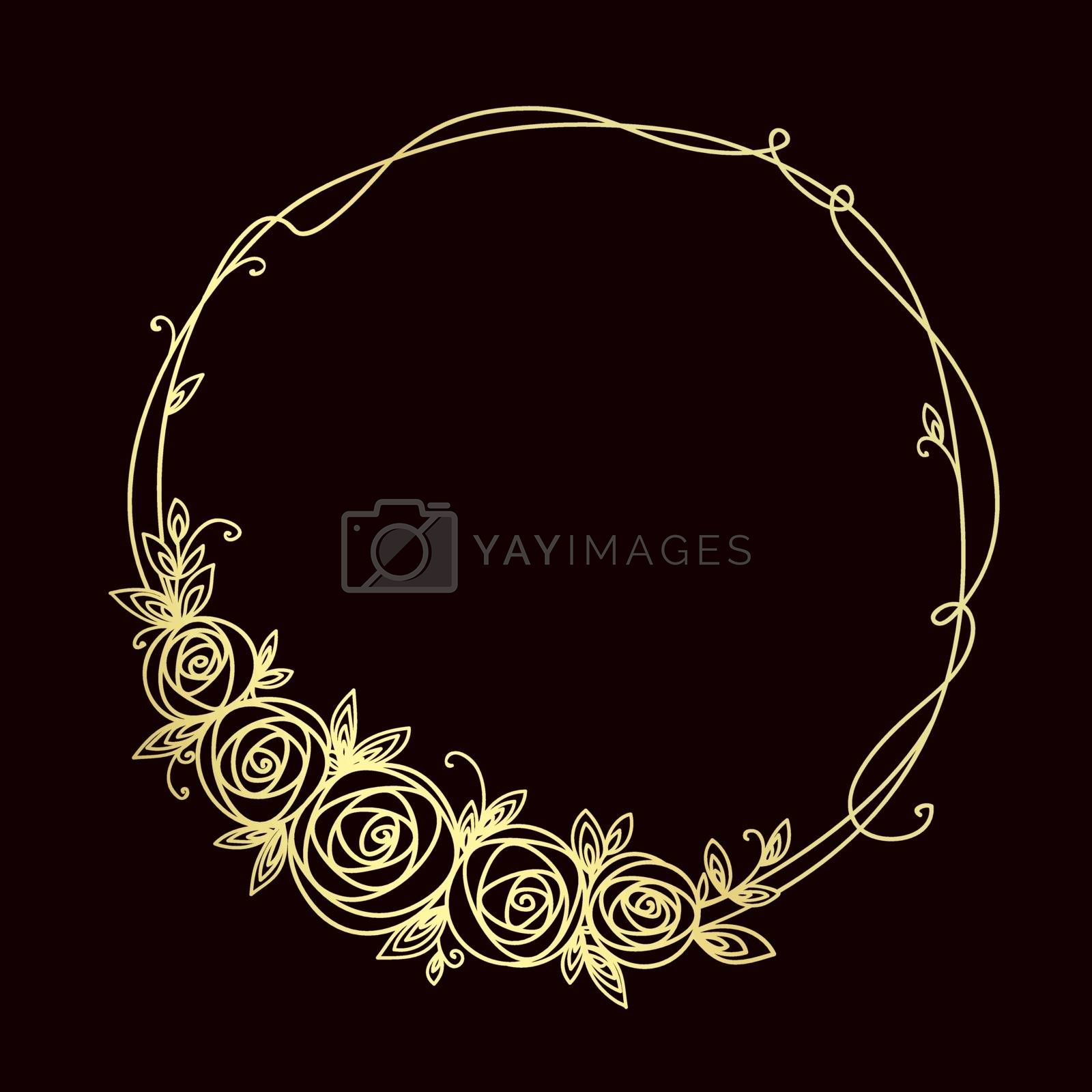Floral frame. Abstract line elegant element for wedding , birthday, valentines day and other romantic design. Wreath of rose flowers