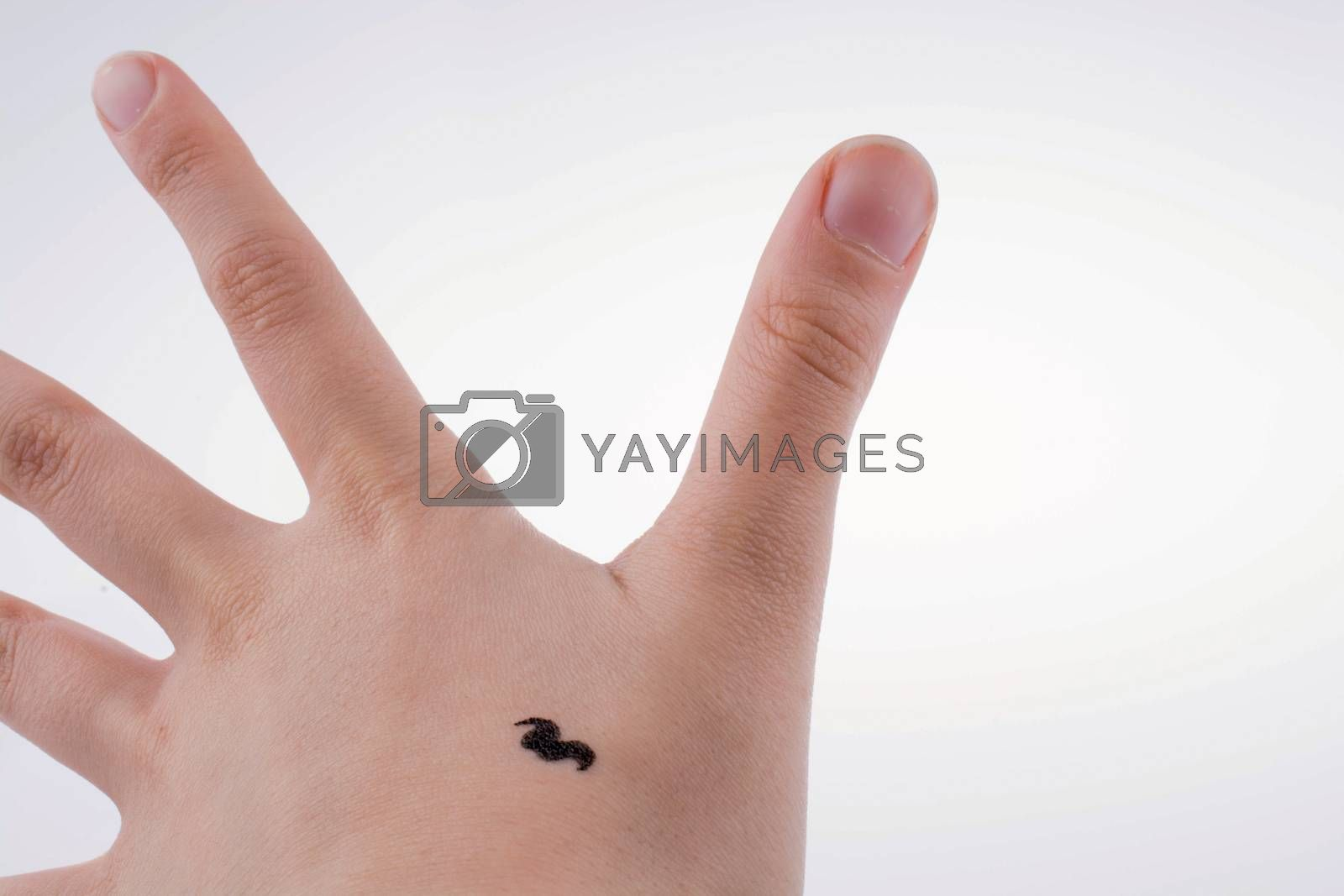 moustache design on a hand by berkay