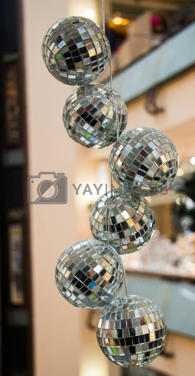 disco balls with mirror pieces for dancing in a disco club