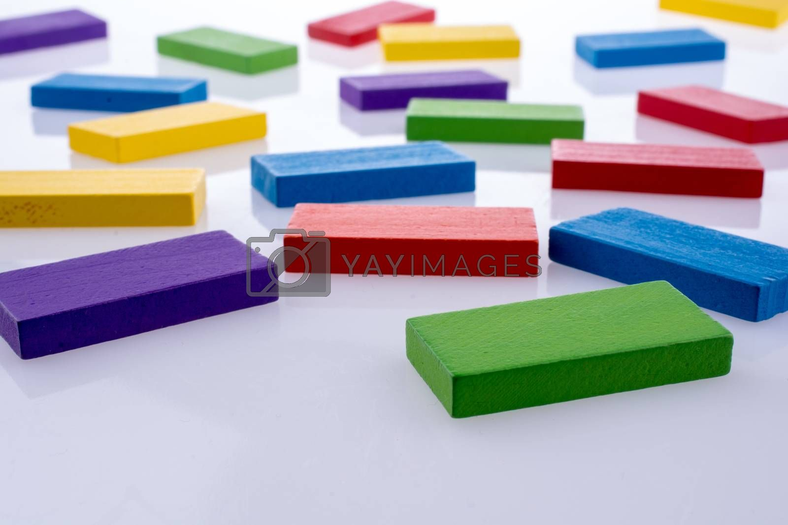 Color dominoes on a white background