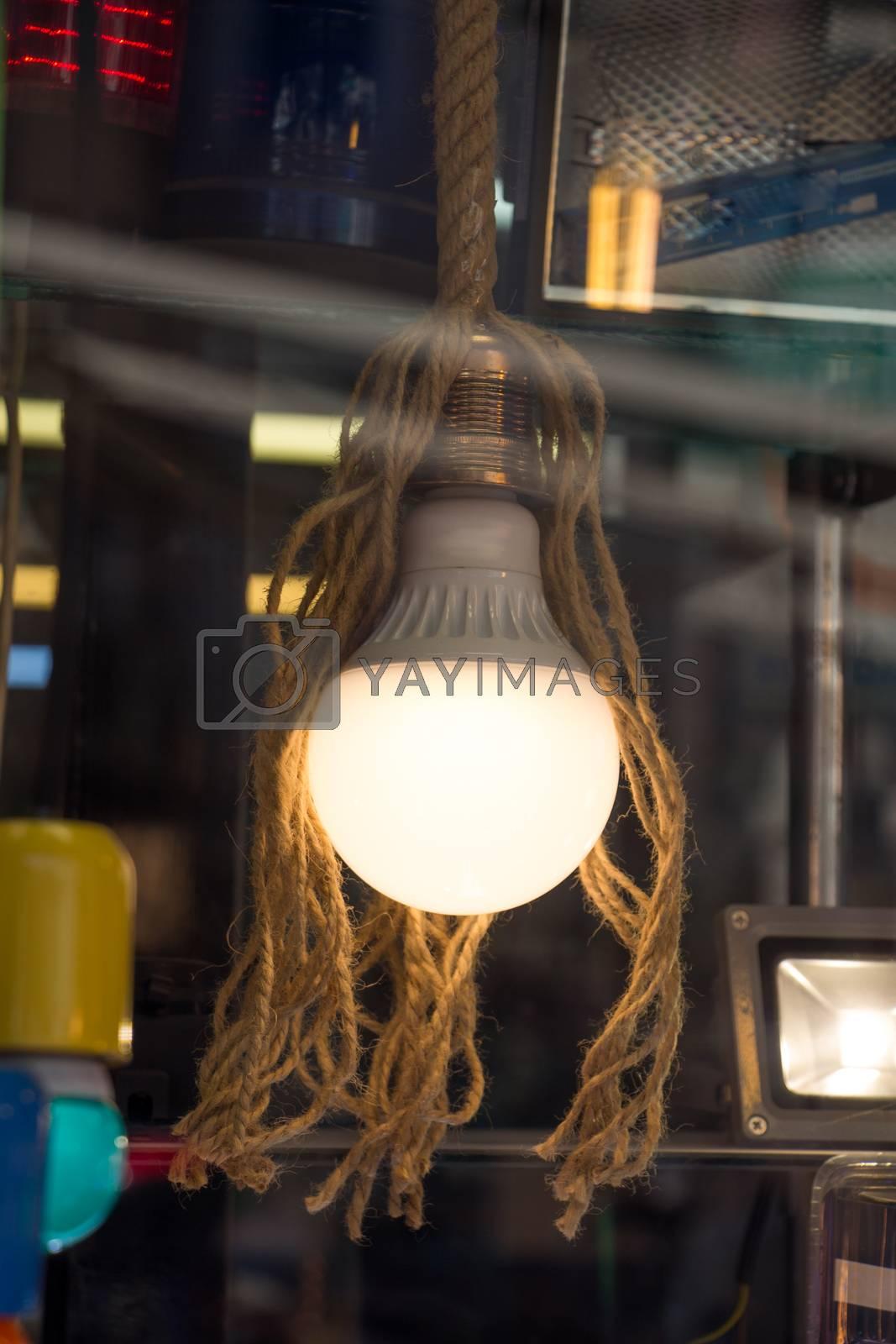 Decorative antique edison style filament light bulbs hanging