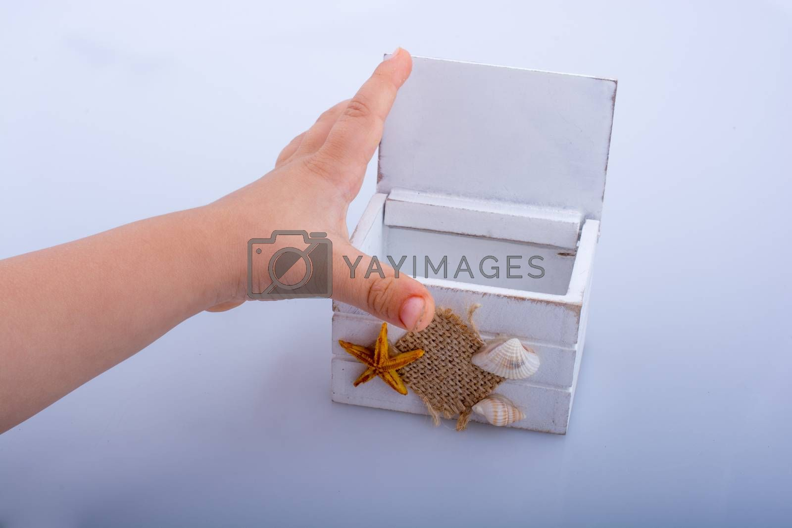 White wooden case  on a white background