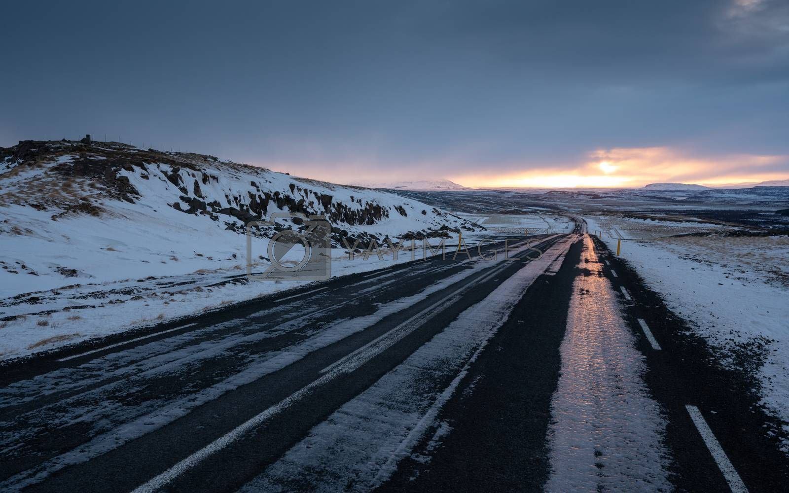 Sunset on a cold winter day in Iceland, Europe