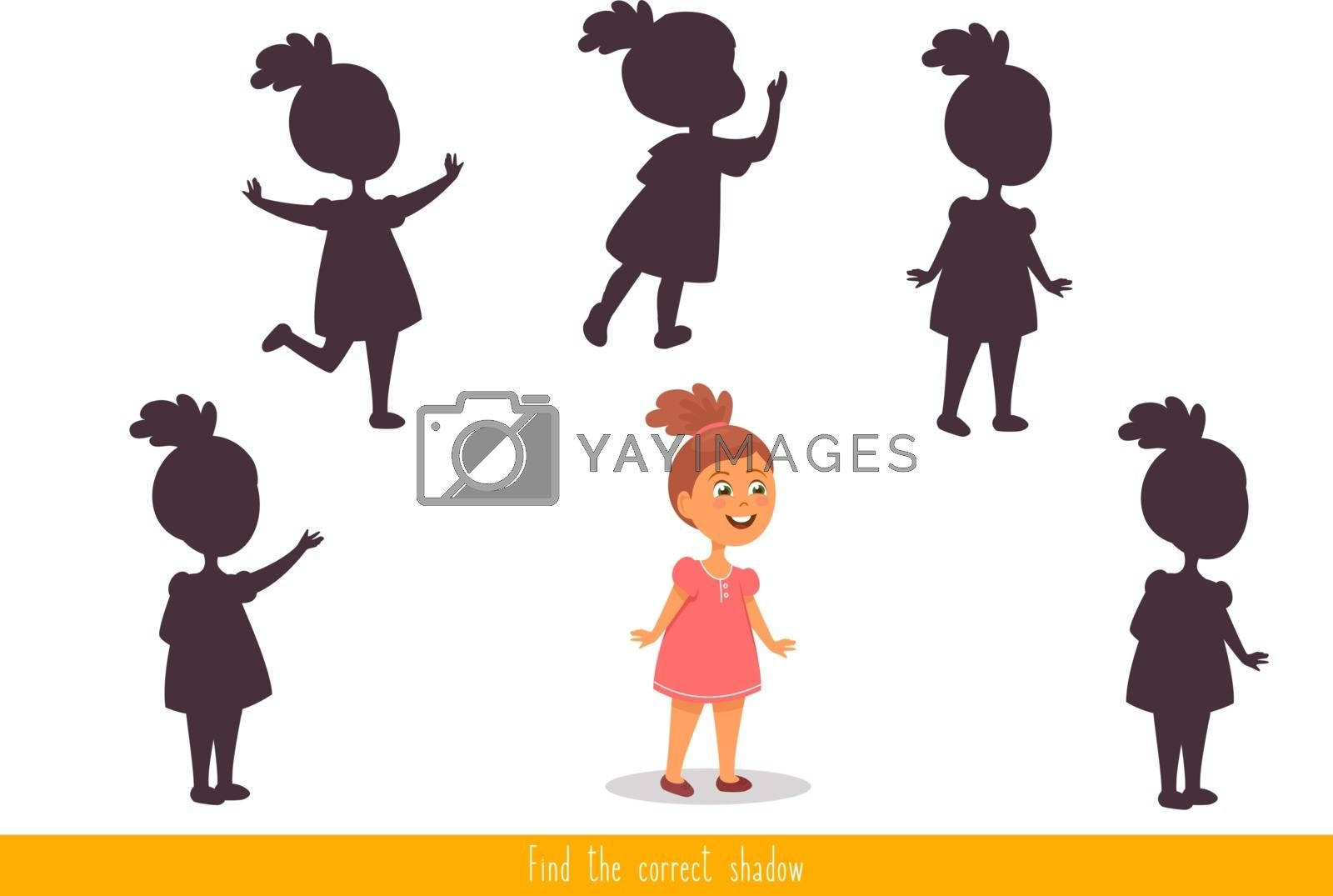 Educational children game, vector. Logic game for kids. Find the correct shadow