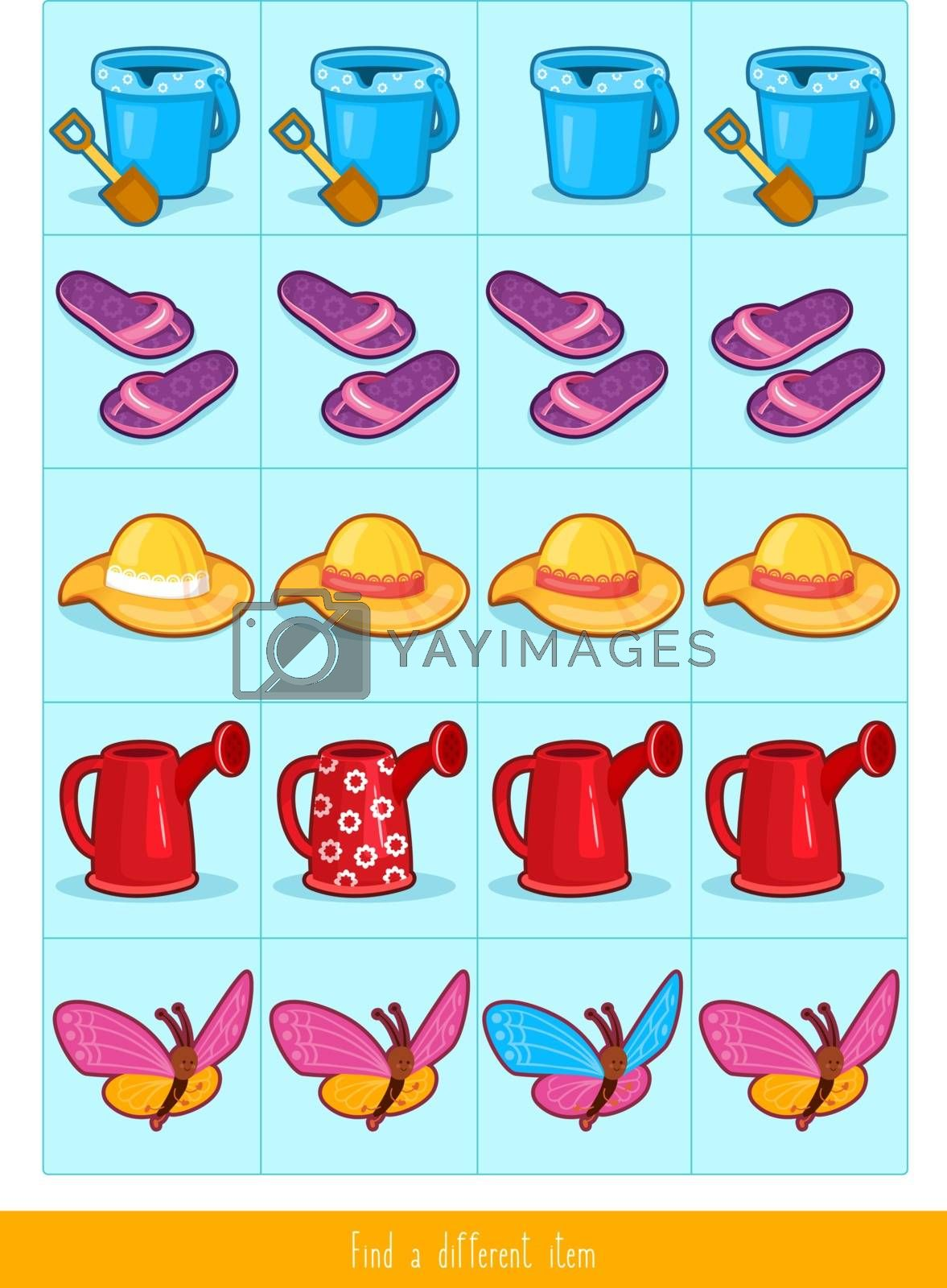 Educational children game, vector. Logic game for kids. Find differences.