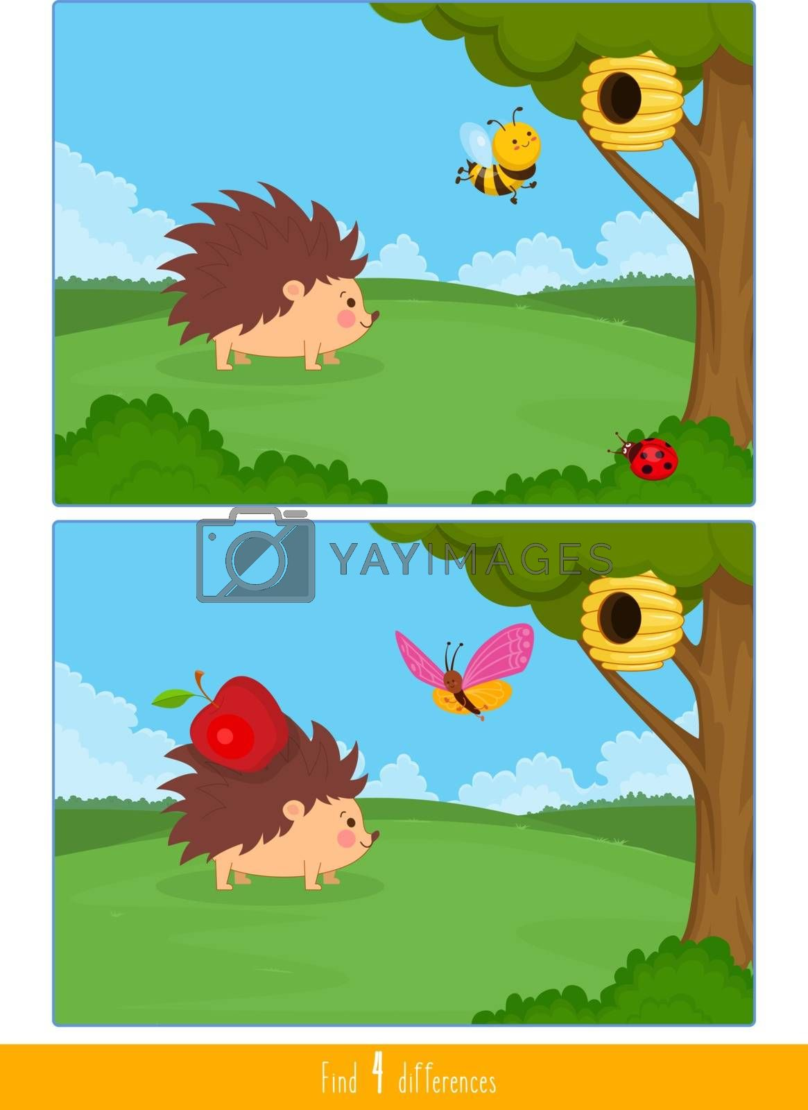 Educational children game, vector. Logic game for kids. Find 4 differences