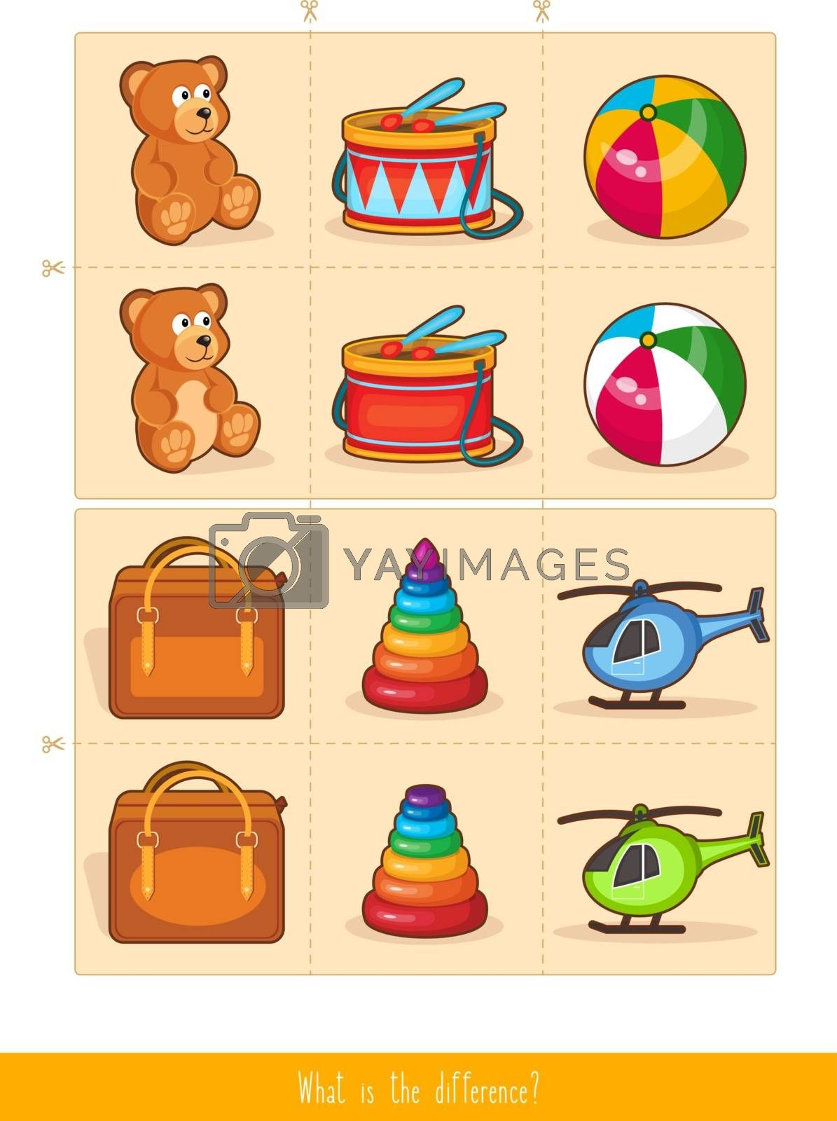 Memory Game for Kids. Educational children game, vector. What is the Difference