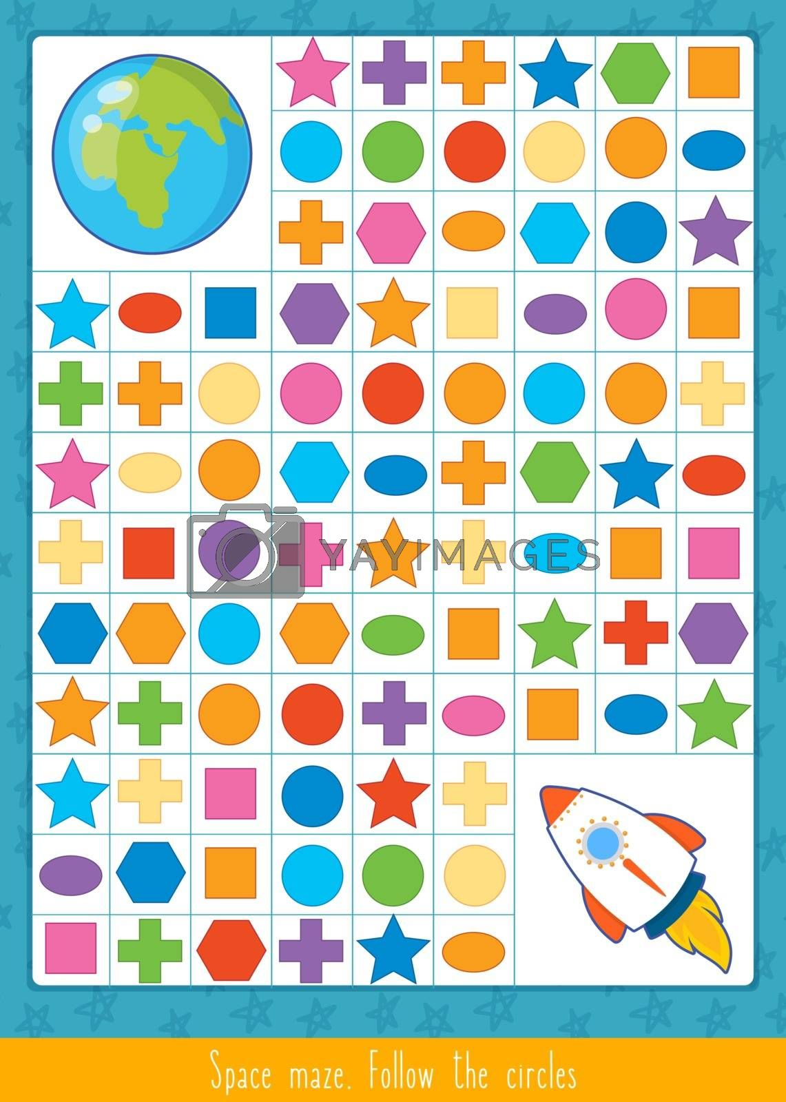 Educational children game, vector illustration. Puzzle for kids. Space maze