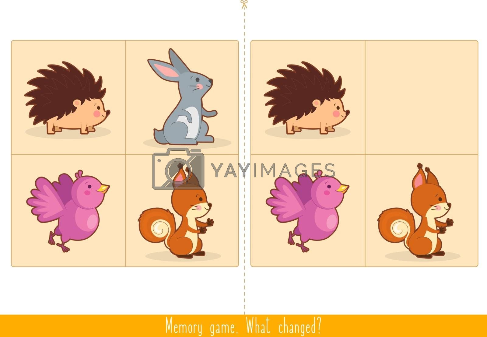 Memory Game for Kids. Find difference. Educational children game, vector.