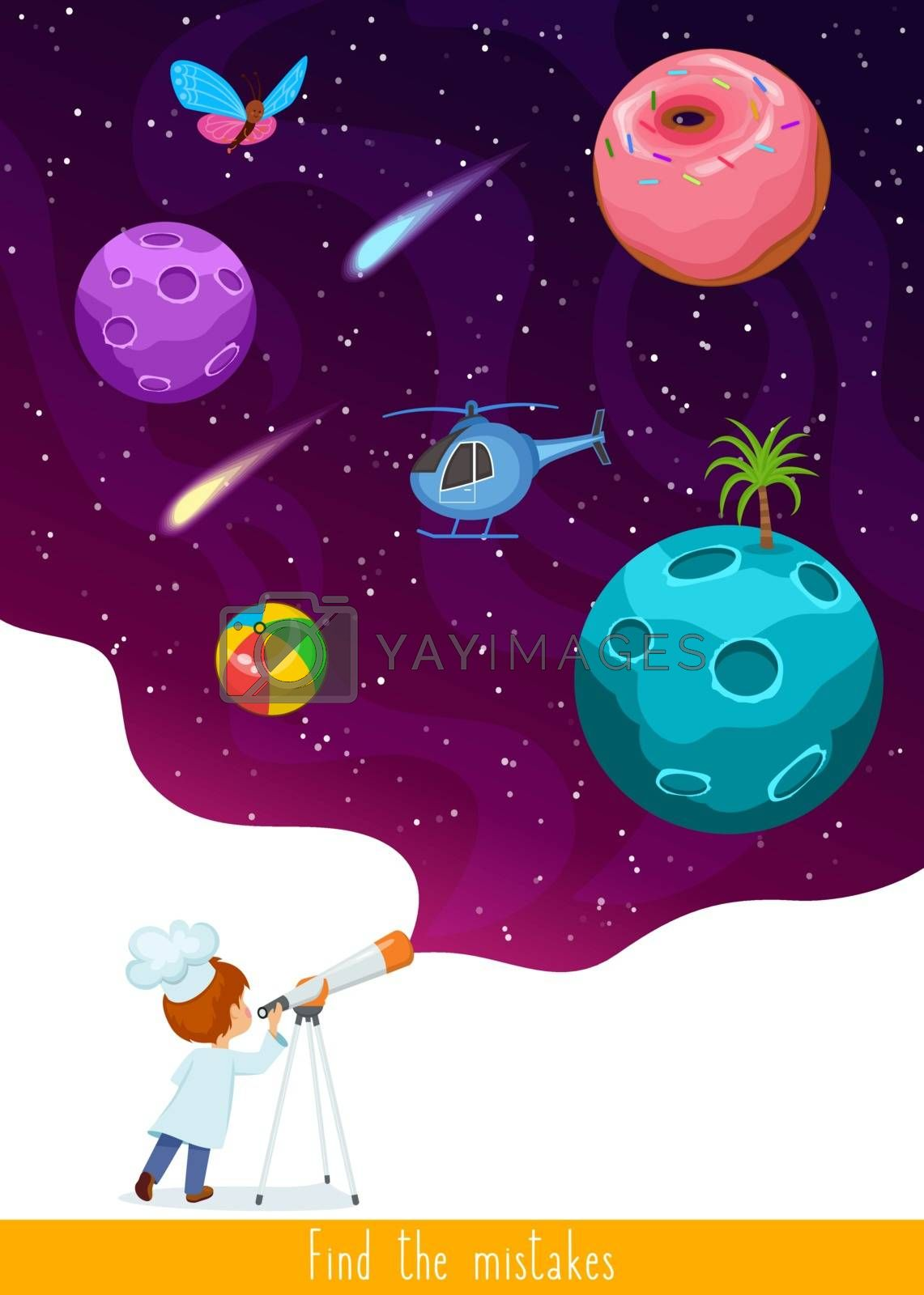 Educational children game, vector. Logic game for kids. Find all mistakes