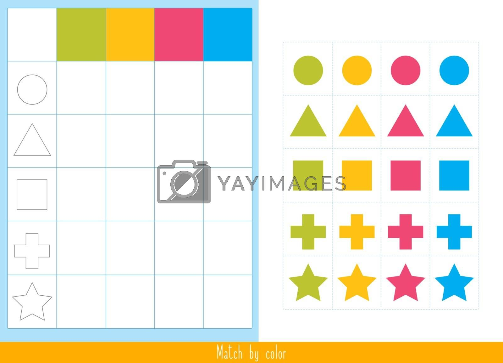 Educational children game. Logic game for kids. Match by color by SonneOn