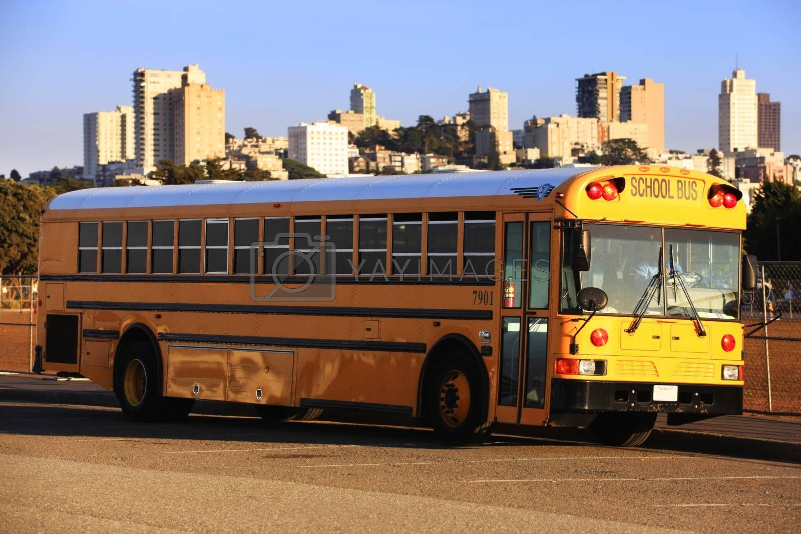 Traditional yellow school bus in San Francisco, America