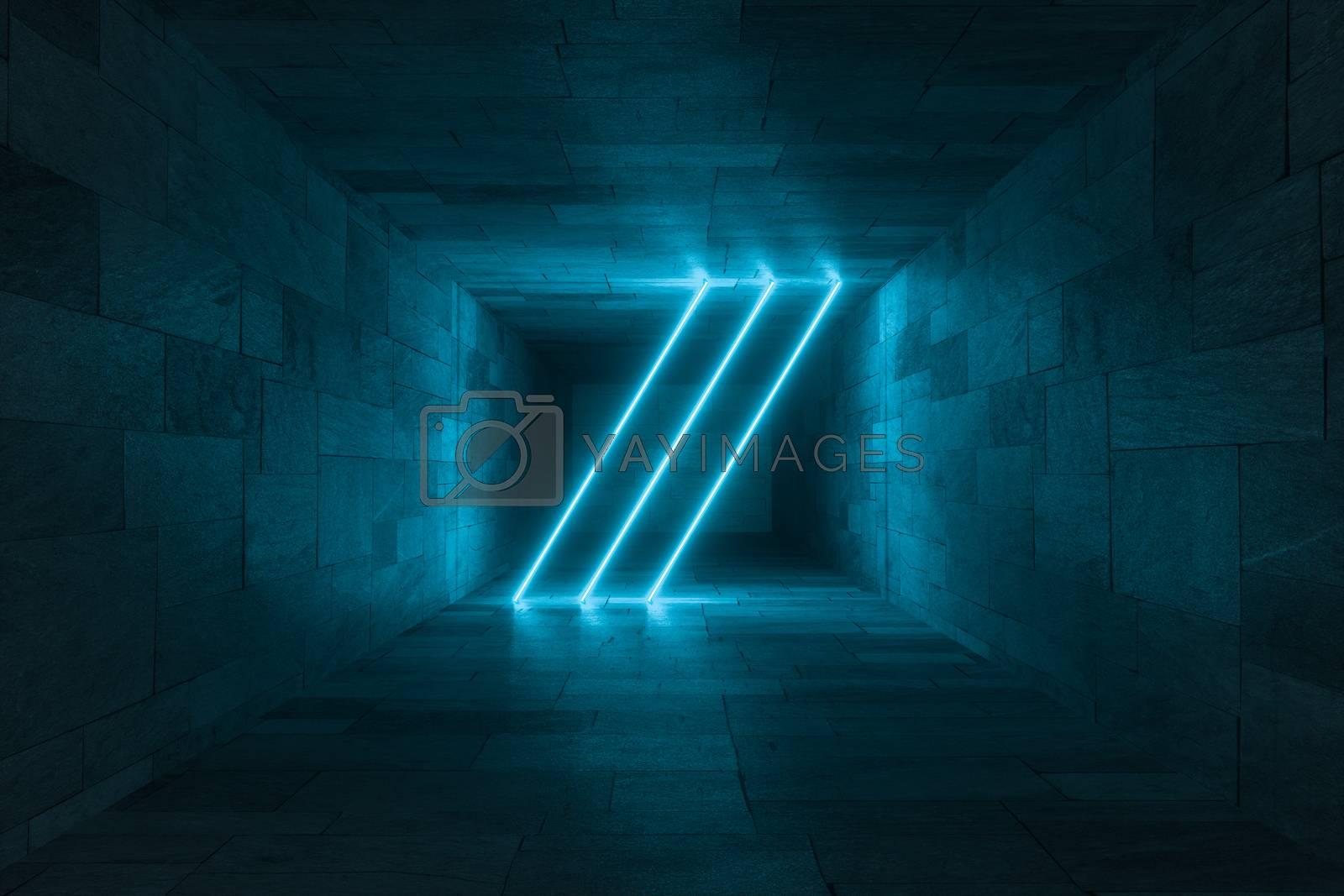 3d rendering, glowing magic lines in anbanoned room, dark background by vinkfan
