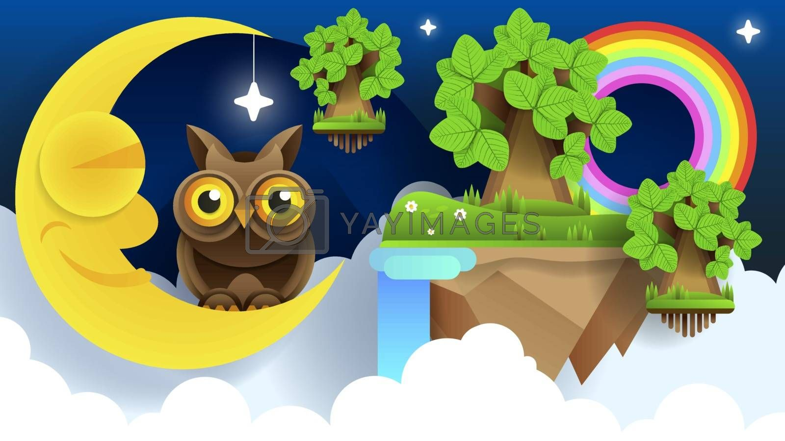 Vector background with evening sky. Moon and stars by brylov
