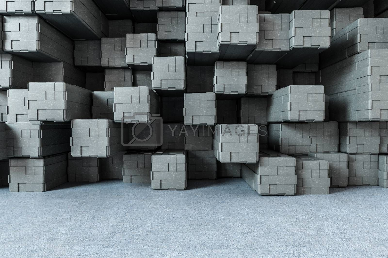 3d rendering, creative cubes wall with floor by vinkfan