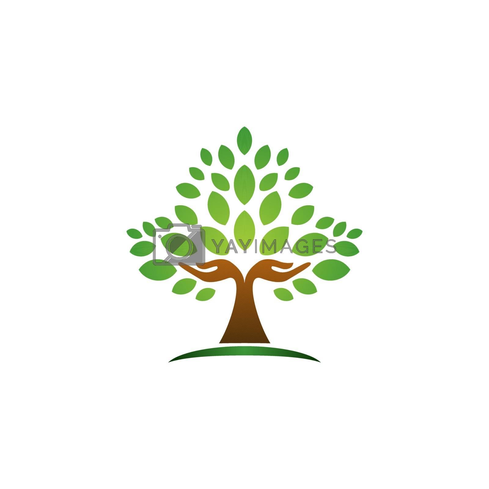 hand tree logo concept nature wellness health symbol icon vector design illustration