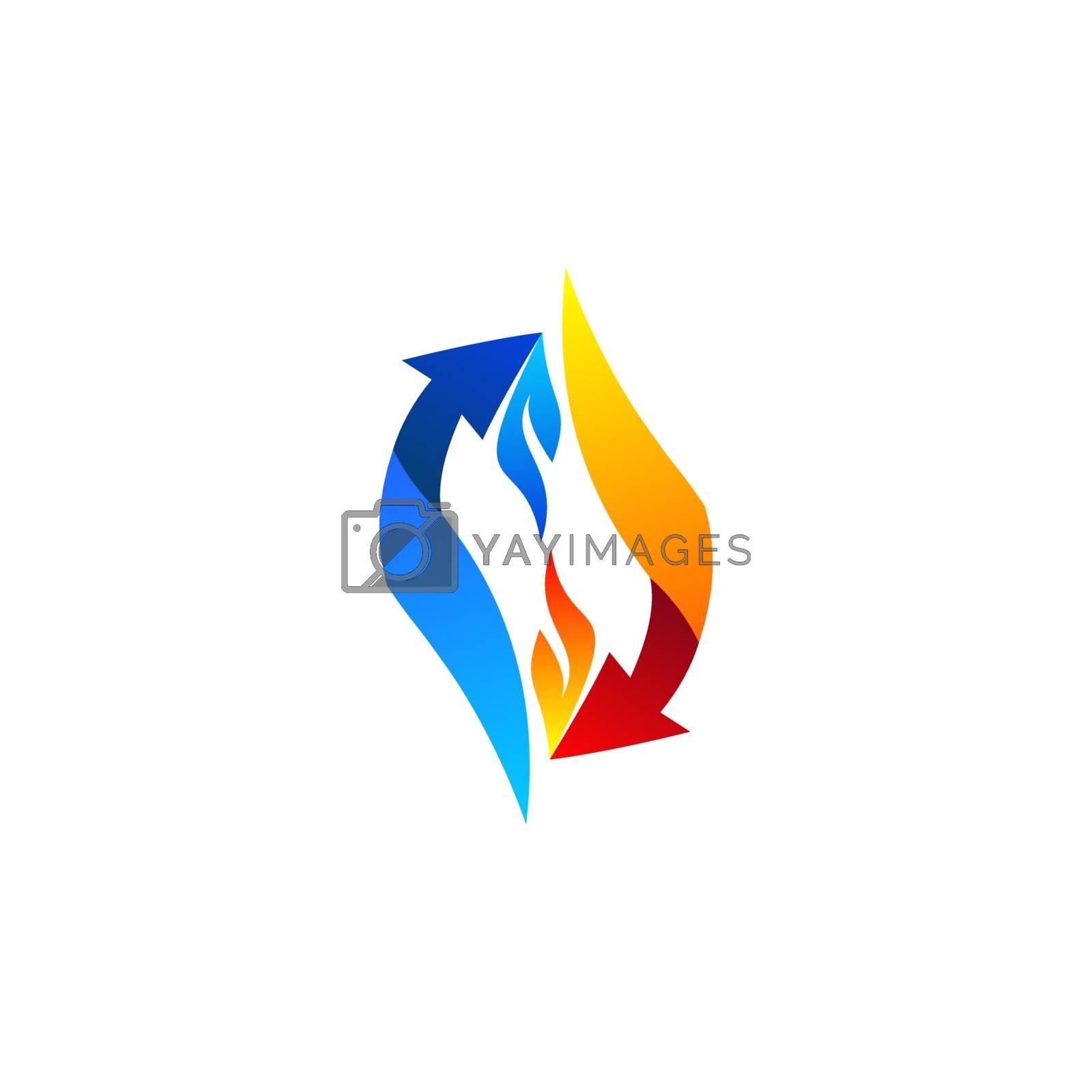 arrows flame connection logo concept elements symbol icon vector design illustration